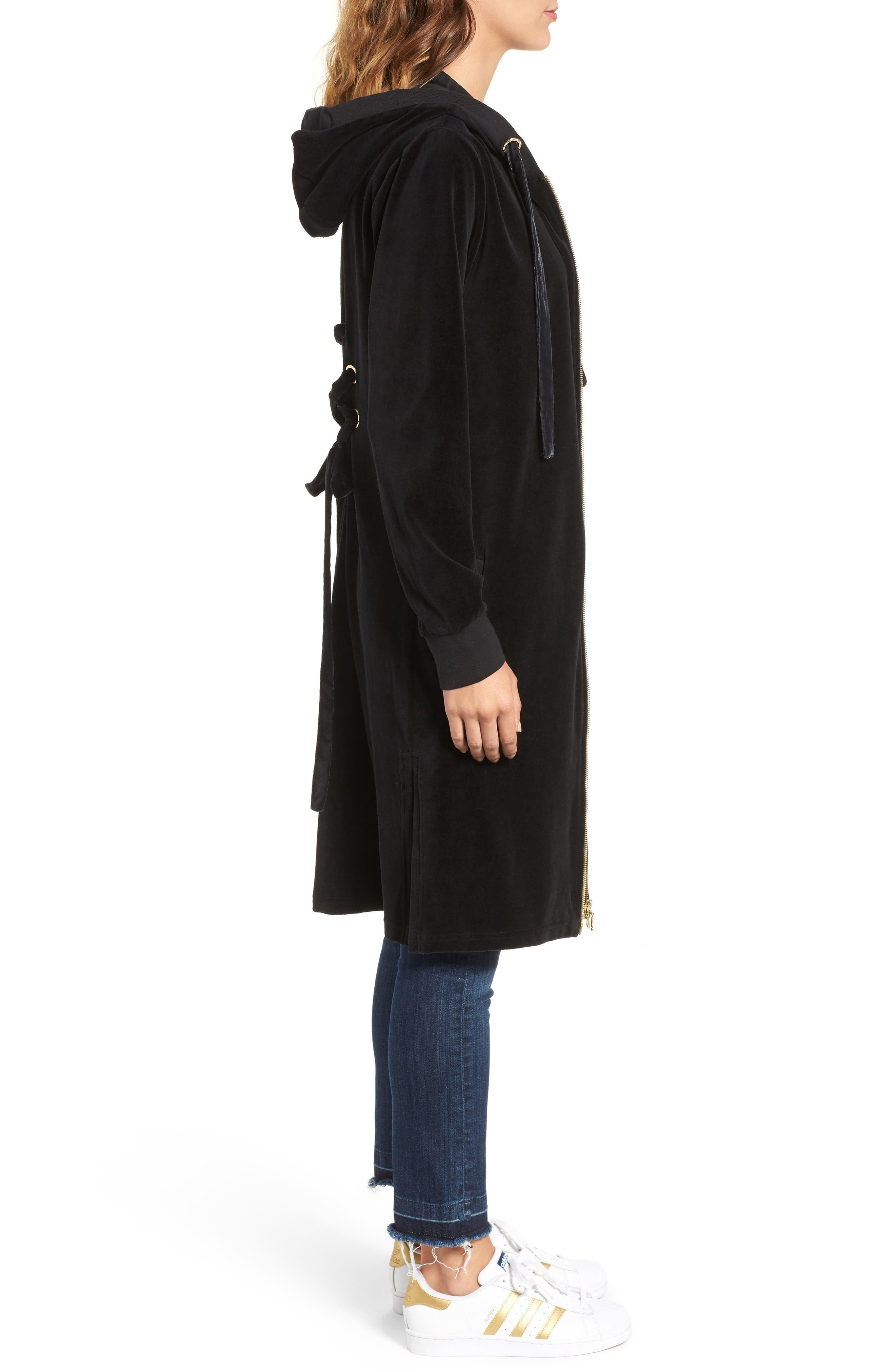 Alternate Image 3  - Juicy Couture Longline Velour Hoodie
