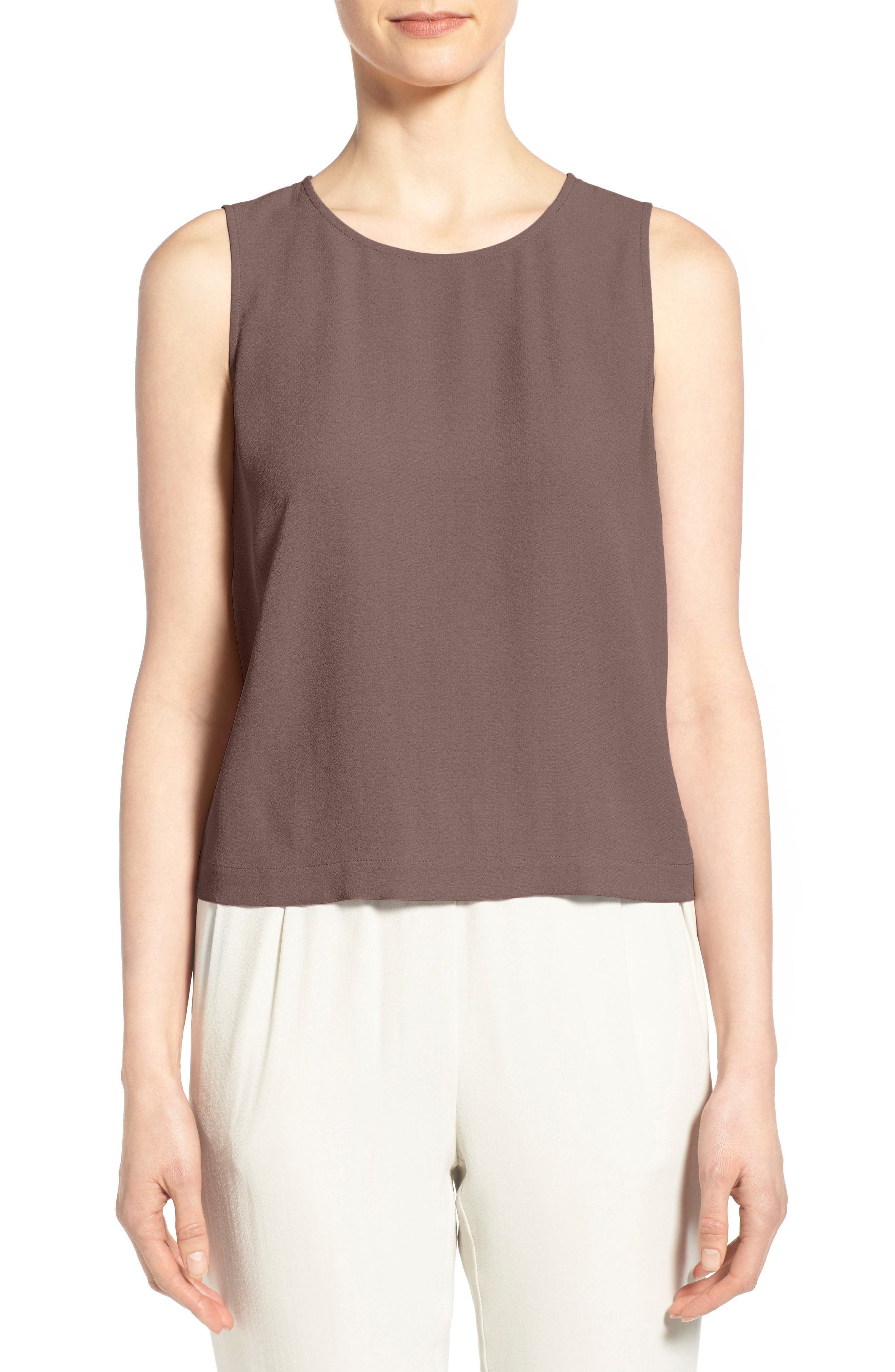 Eileen Fisher Silk Round Neck Shell (Regular & Petite)