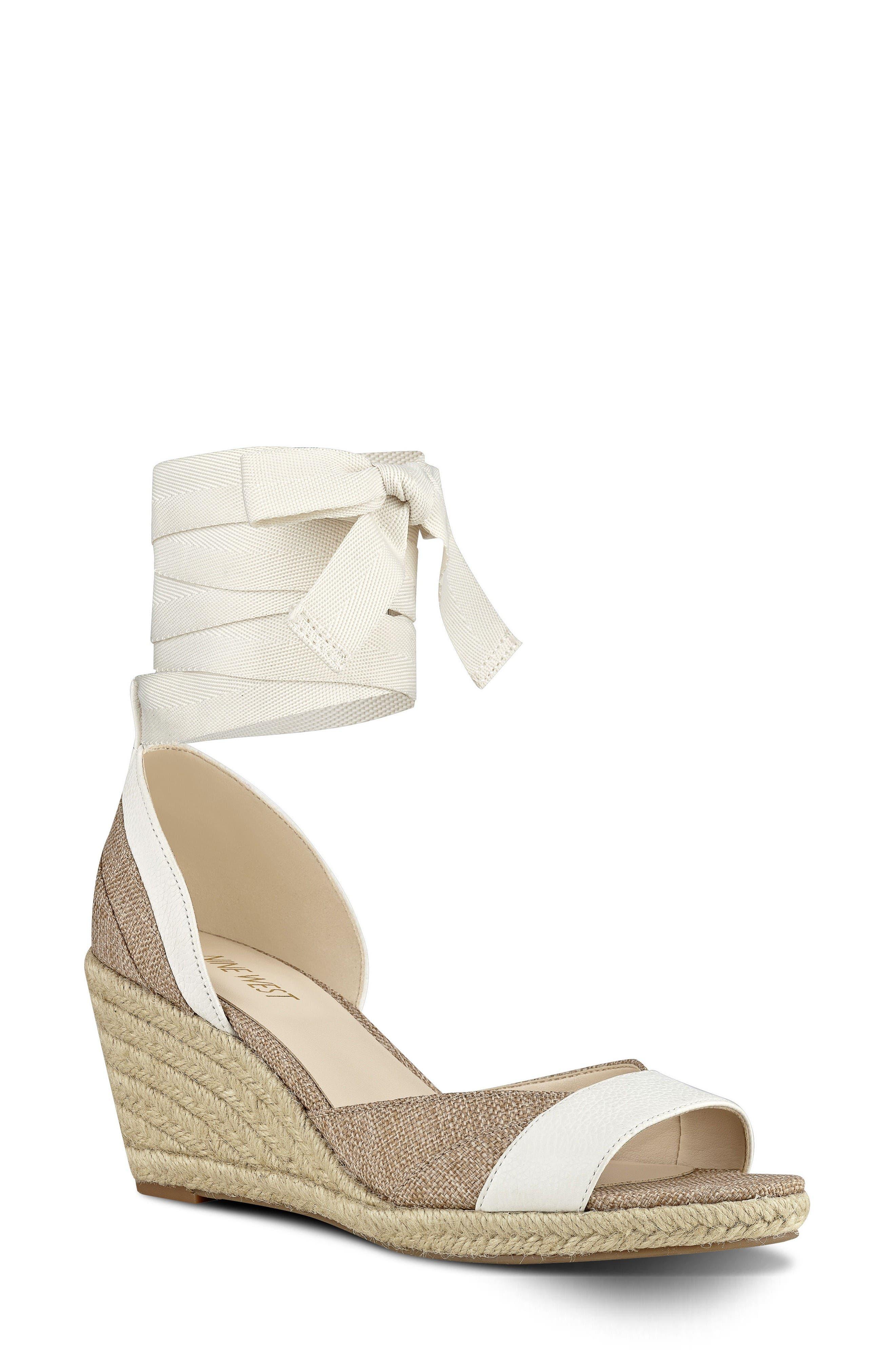 Alternate Image 1 Selected - Nine West Jaxel Ankle Tie Wedge Sandal (Women)