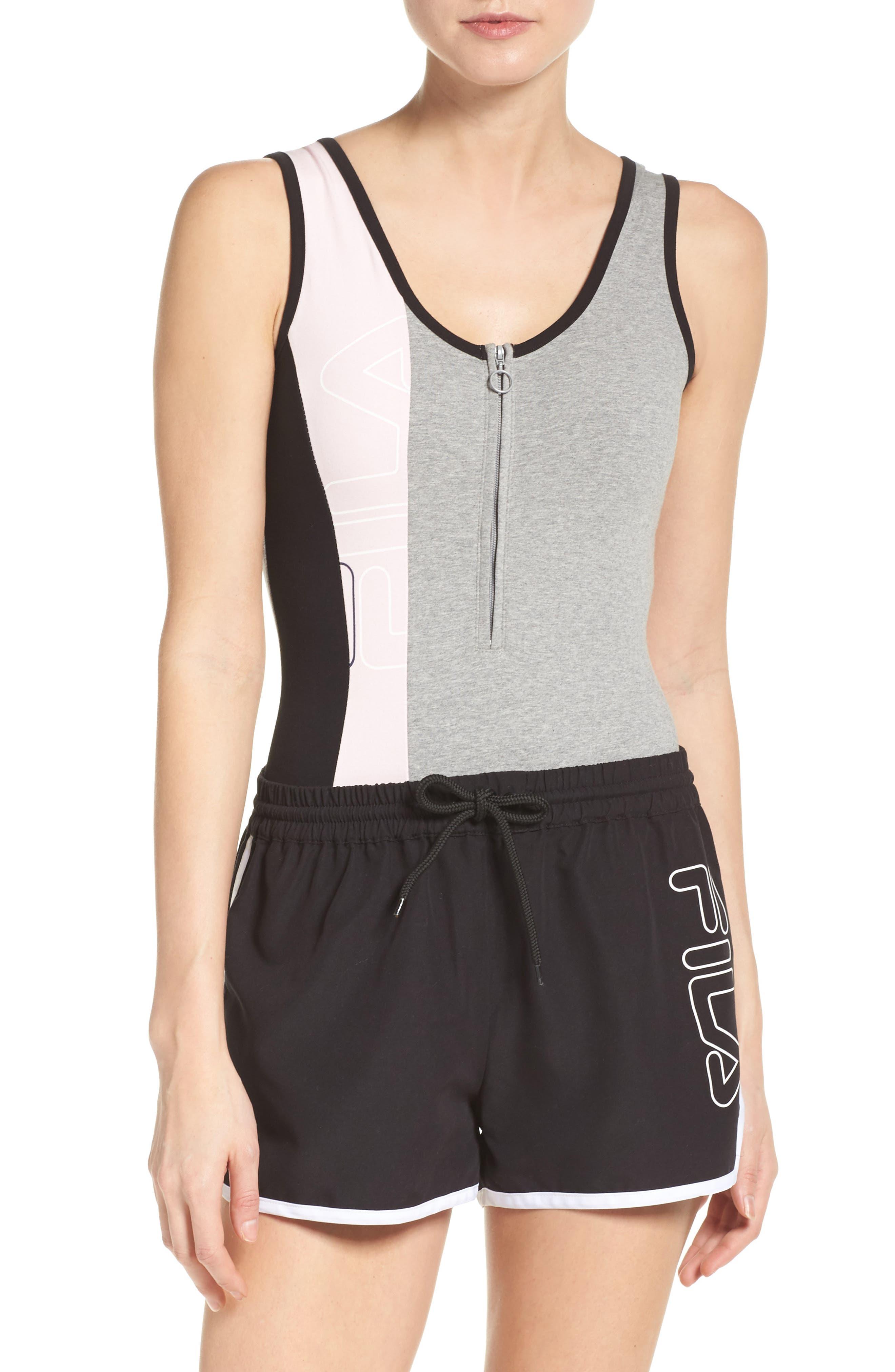 Alternate Image 1 Selected - FILA Viviana Quarter Zip Bodysuit