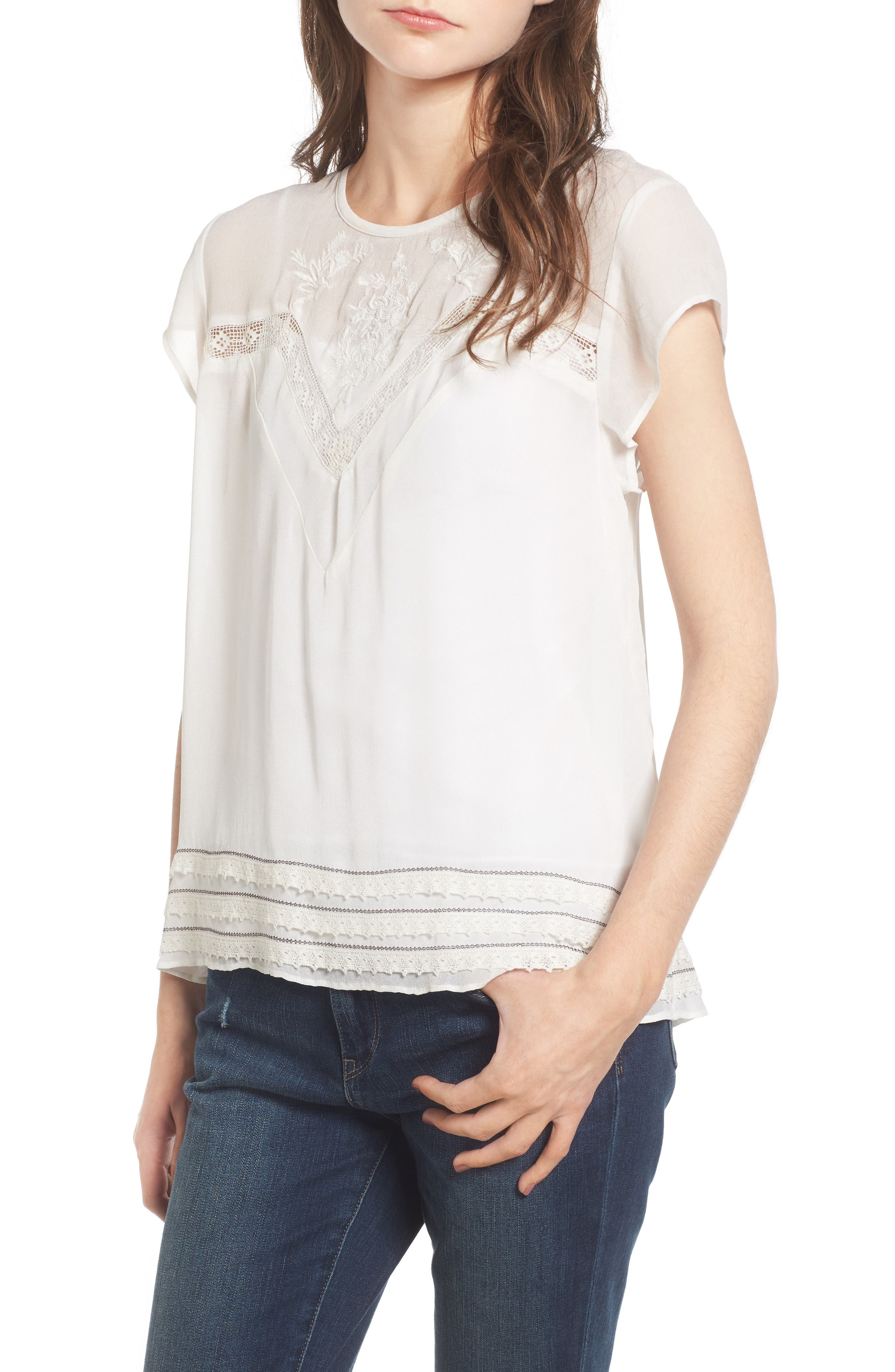 Alternate Image 1 Selected - Hinge Embroidered Lace Yoke Top