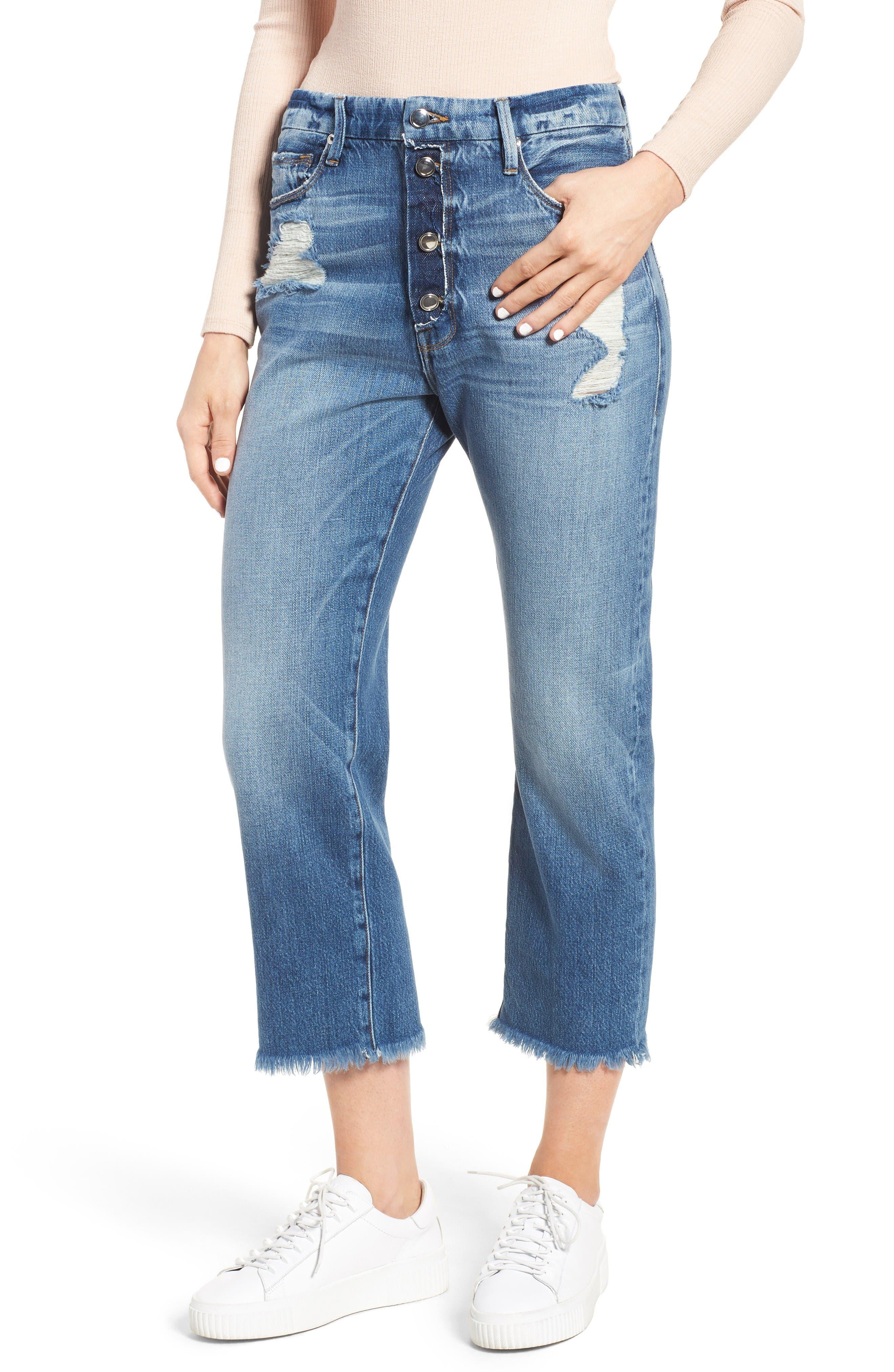 Good American Good Cuts High Waist Boyfriend Jeans (Blue 028) (Extended Sizes)