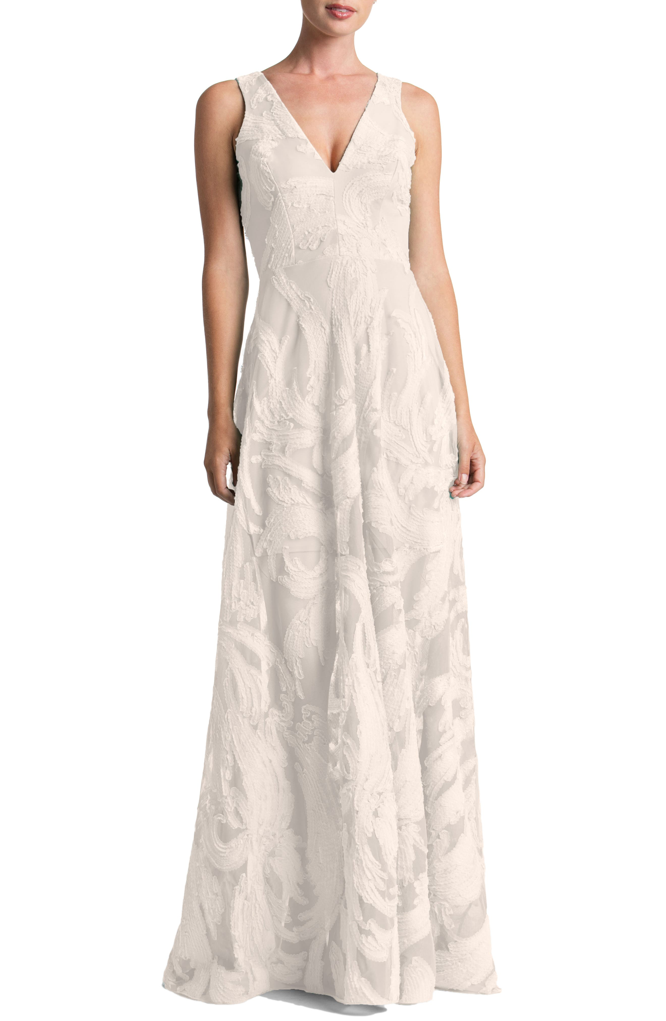 Alternate Image 1 Selected - Dress the Population Marlene Plunging Embroidered Mesh Maxi Dress