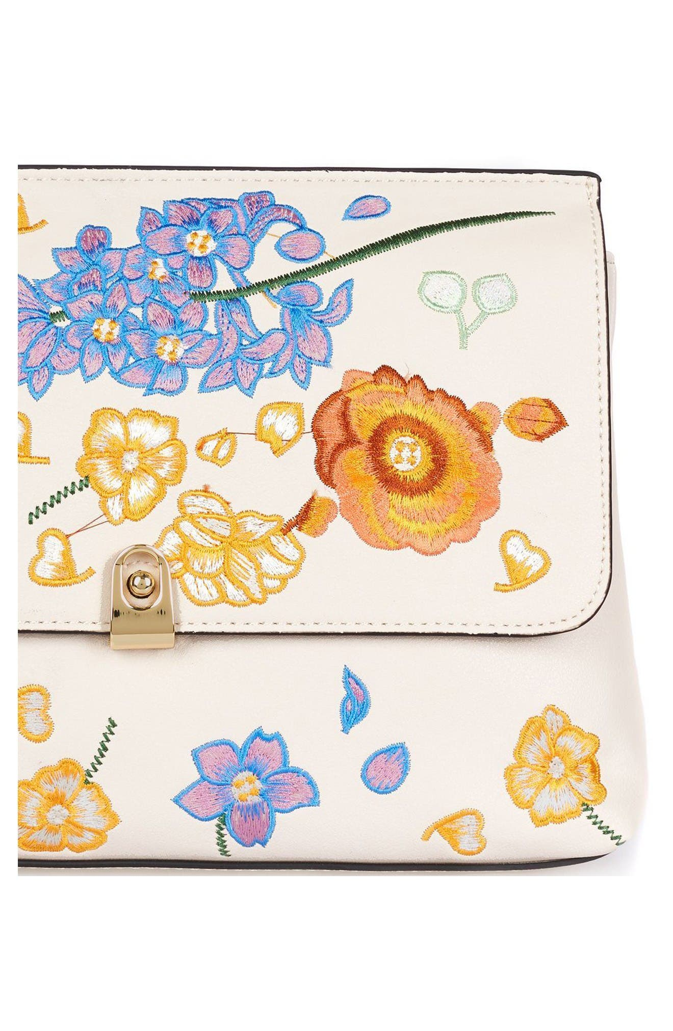 Alternate Image 5  - Topshop Floral Embroidered Faux Leather Clutch