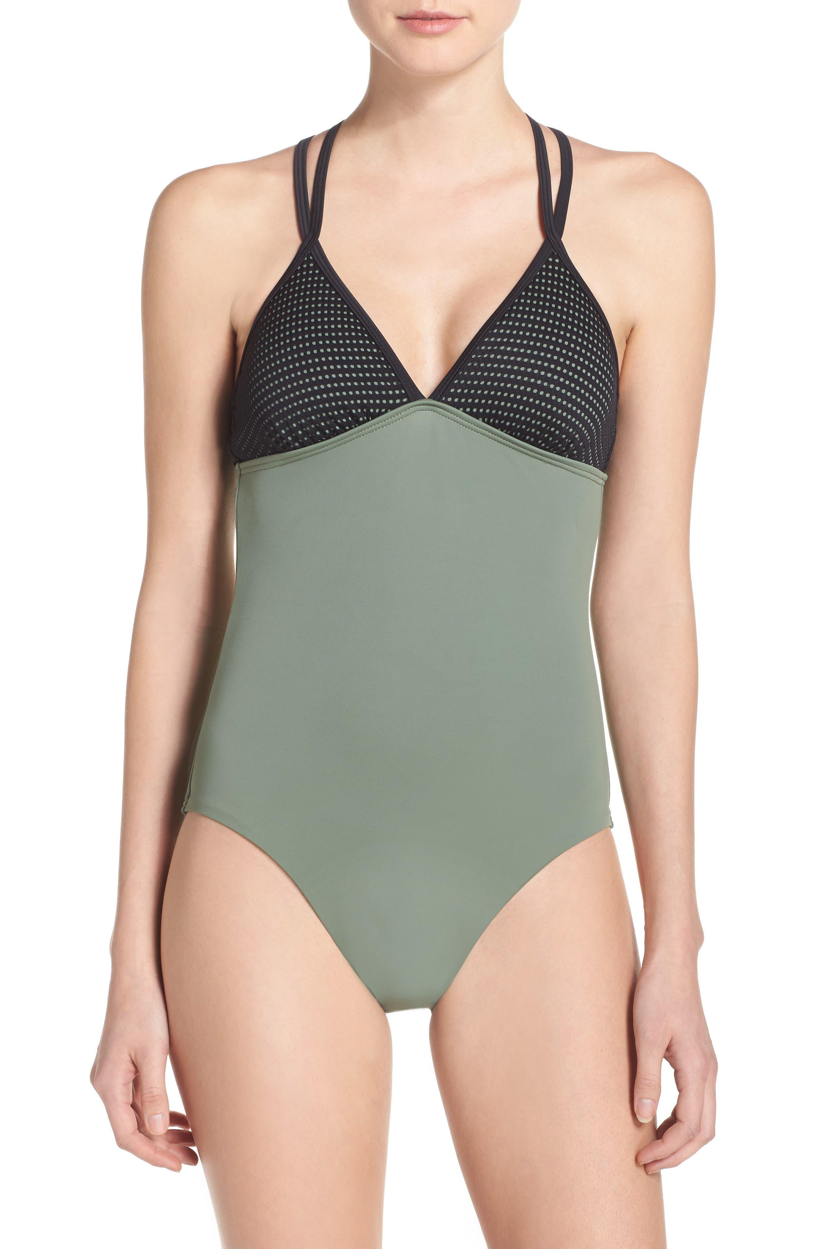 Alternate Image 1 Selected - Zella Colorblock One-Piece Swimsuit