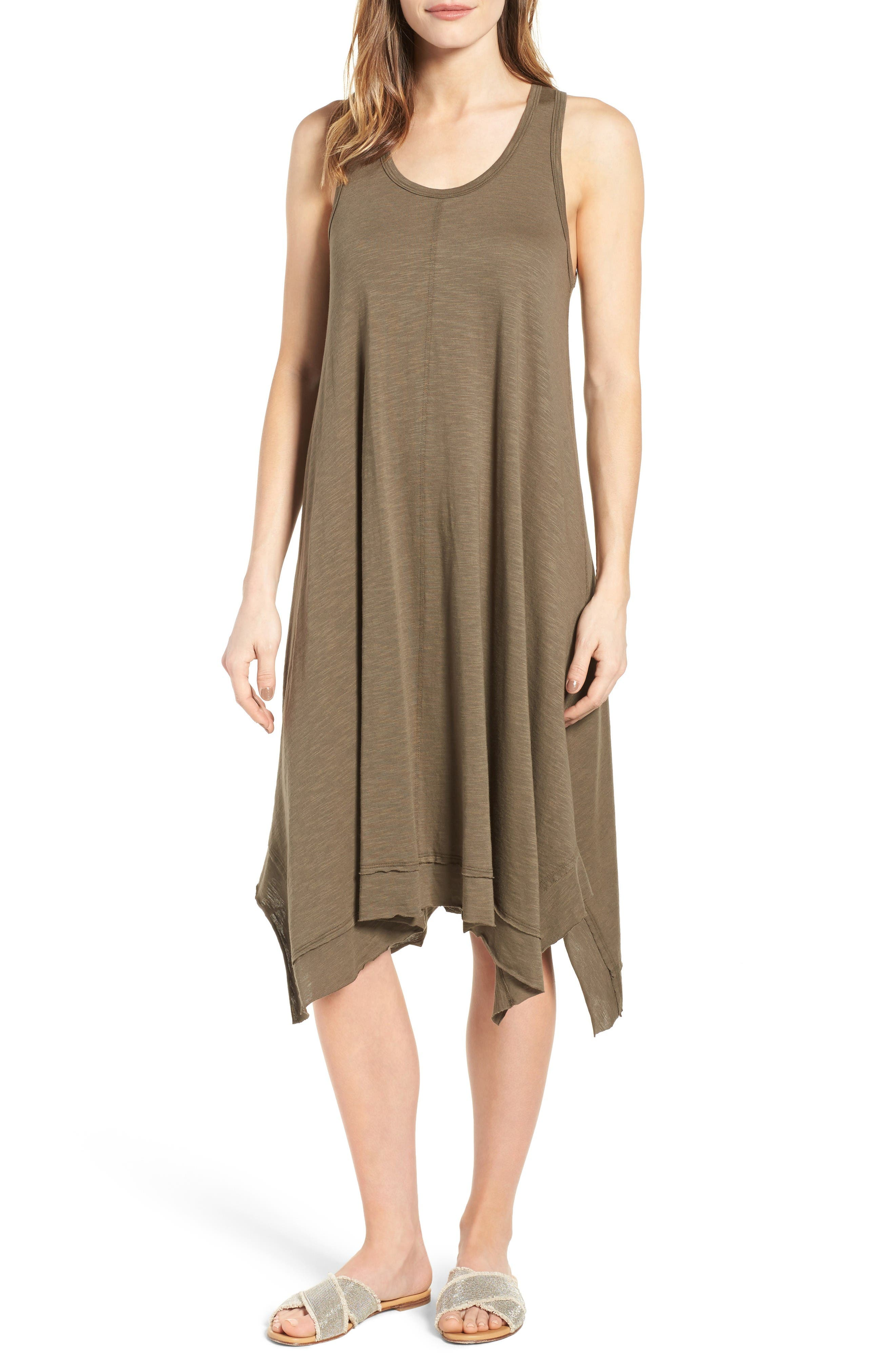 Caslon® Handkerchief Hem Slub Knit Tank Dress (Regular & Petite)