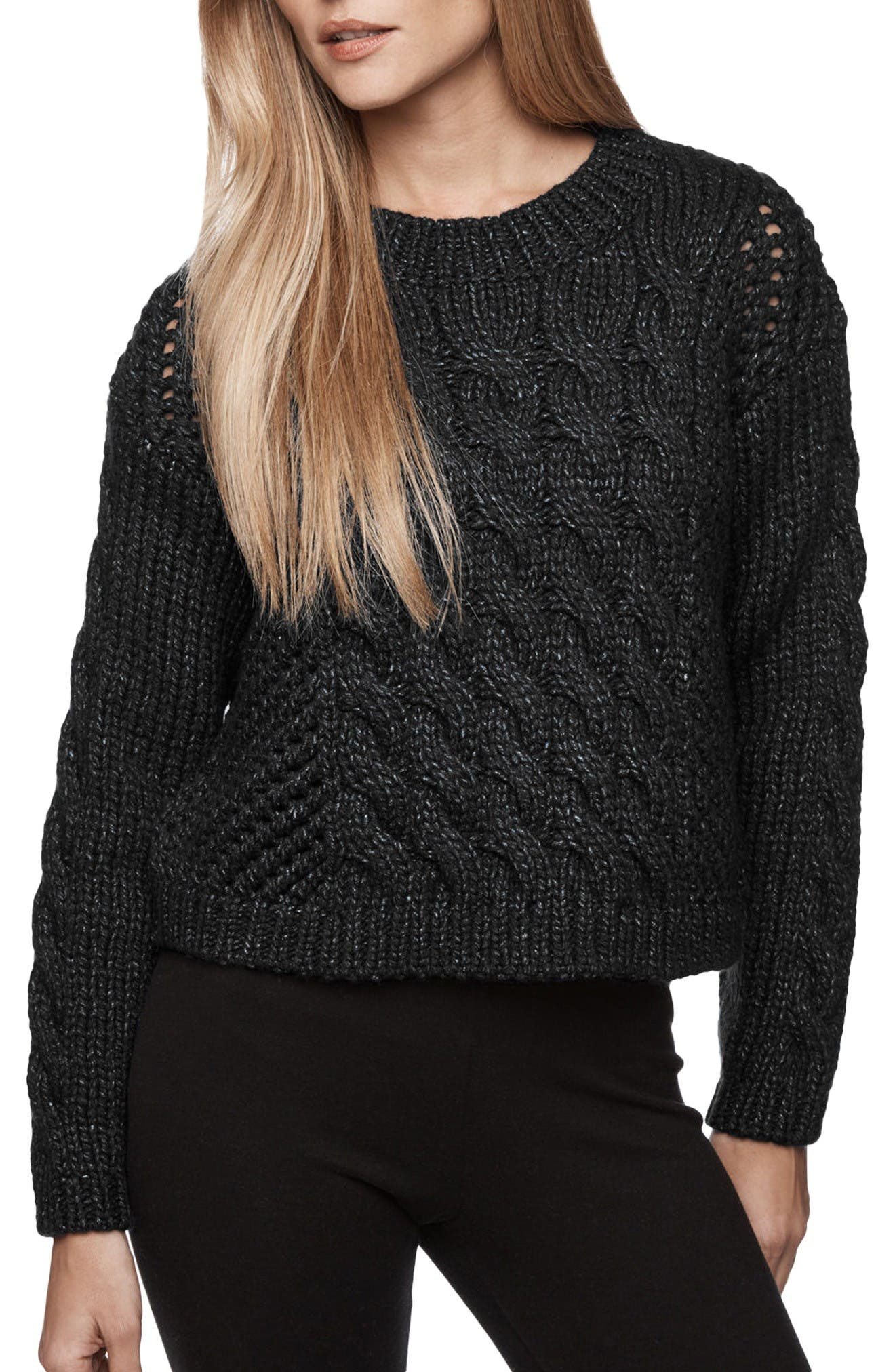 James Perse Crop Cable Knit Sweater