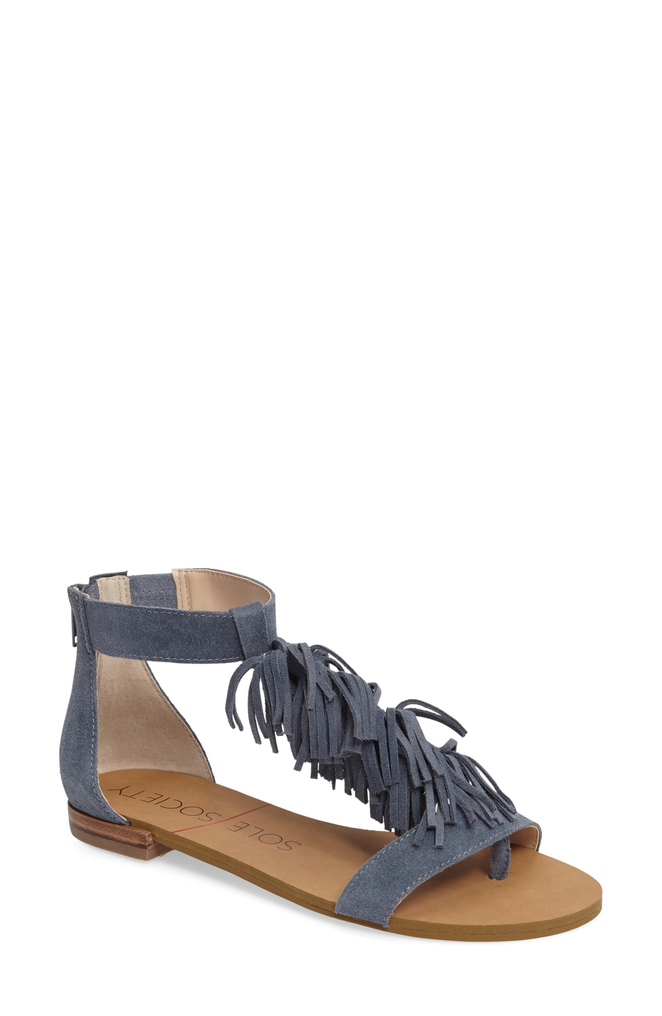 Alternate Image 1 Selected - Sole Society Koa Fringed T-Strap Sandal (Women)