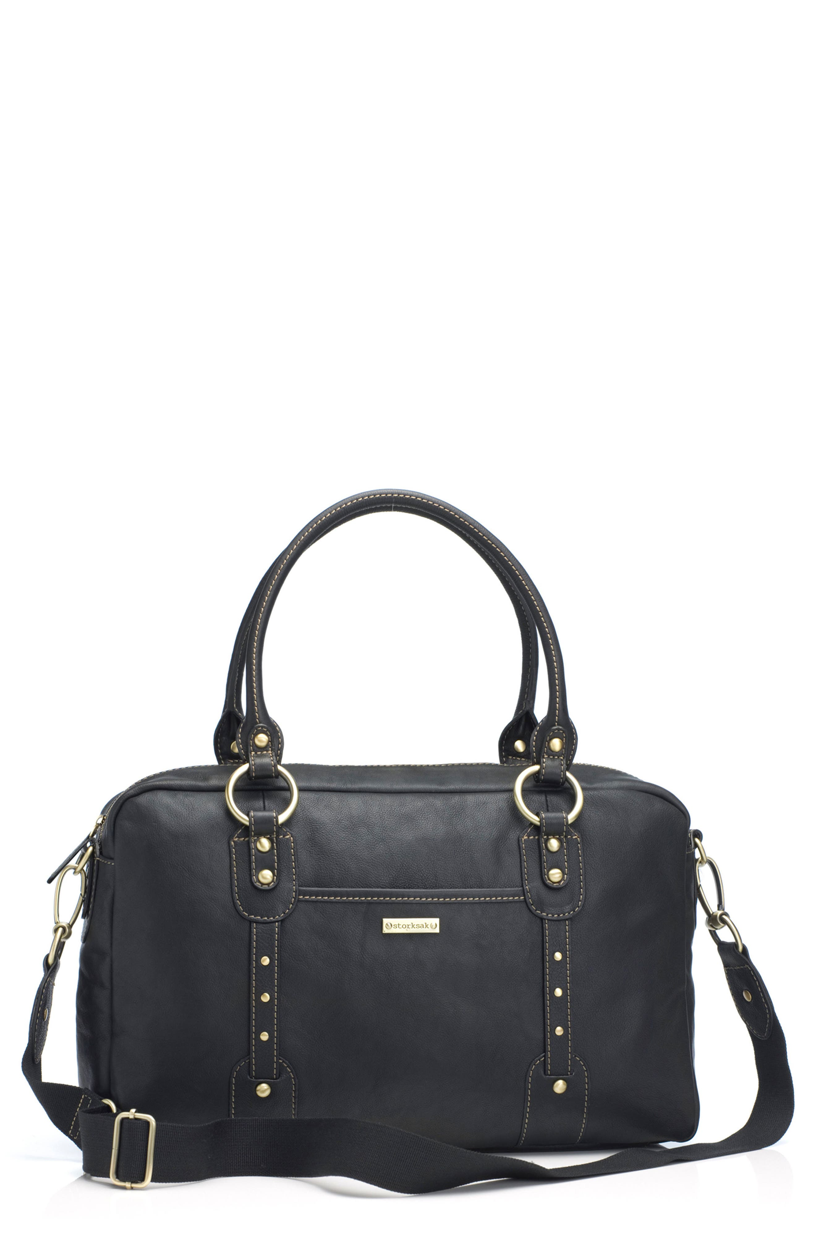 Alternate Image 1 Selected - Storksak Elizabeth Leather Diaper Tote