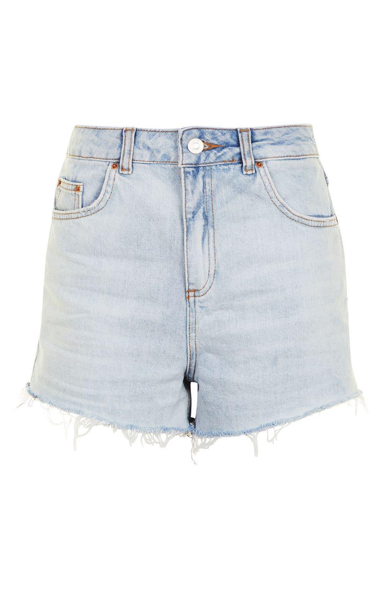 Alternate Image 4  - Topshop Longline Denim Mom Shorts