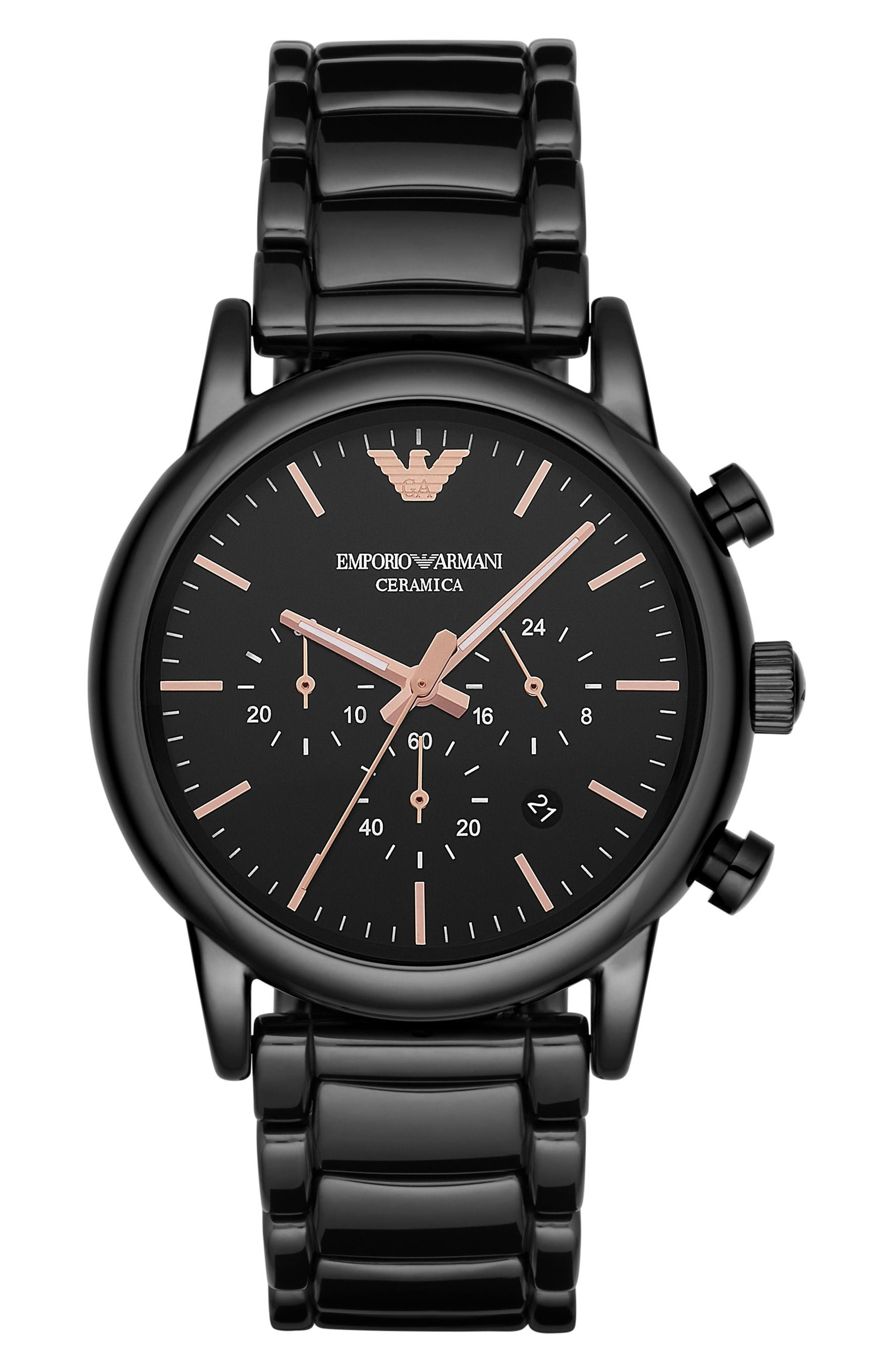 Alternate Image 1 Selected - Emporio Armani Ceramic Chronograph Bracelet Watch, 43mm