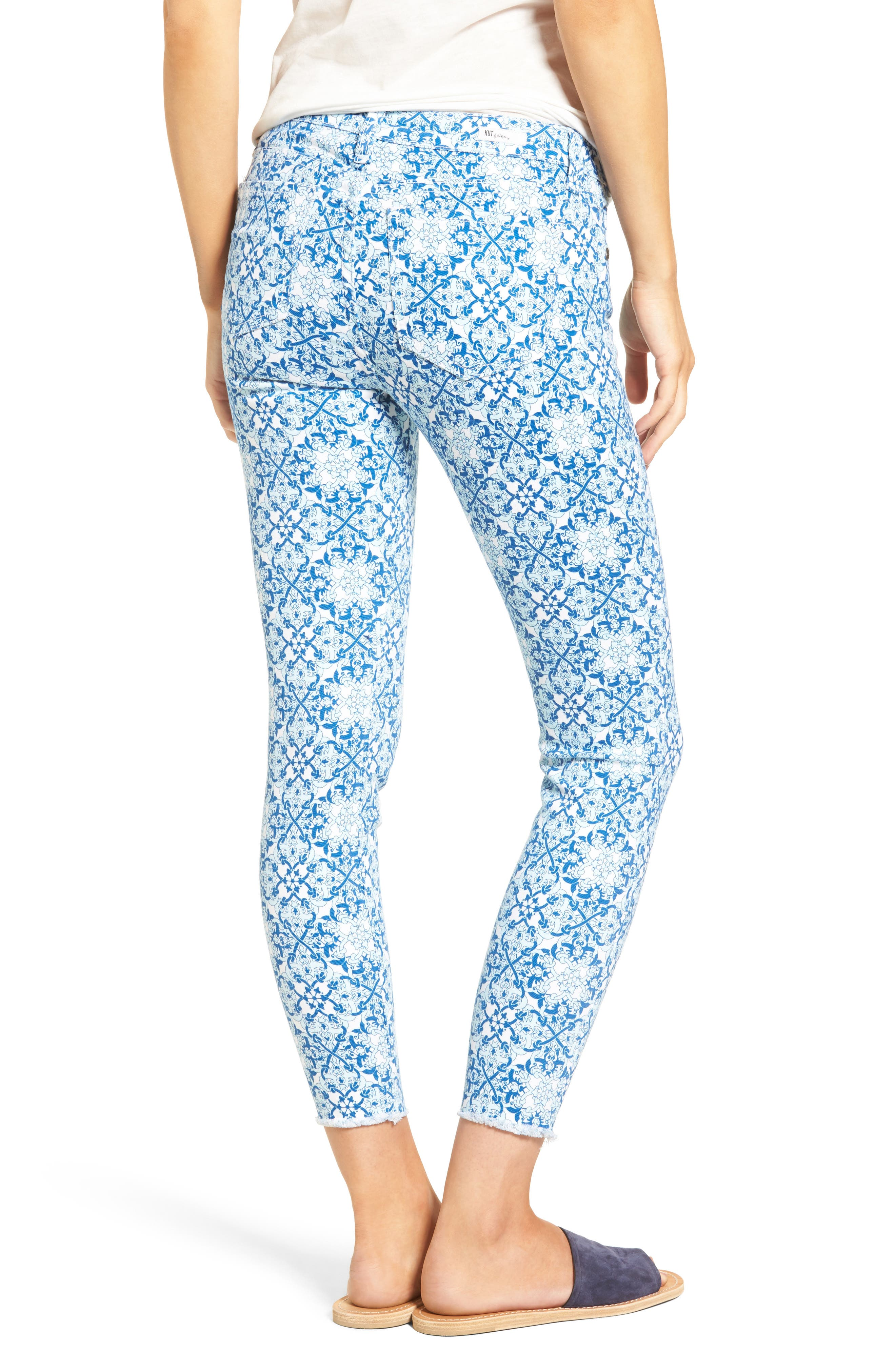 Alternate Image 2  - KUT from the Kloth Connie Print Fray Hem Ankle Skinny Jeans (White/Blue)