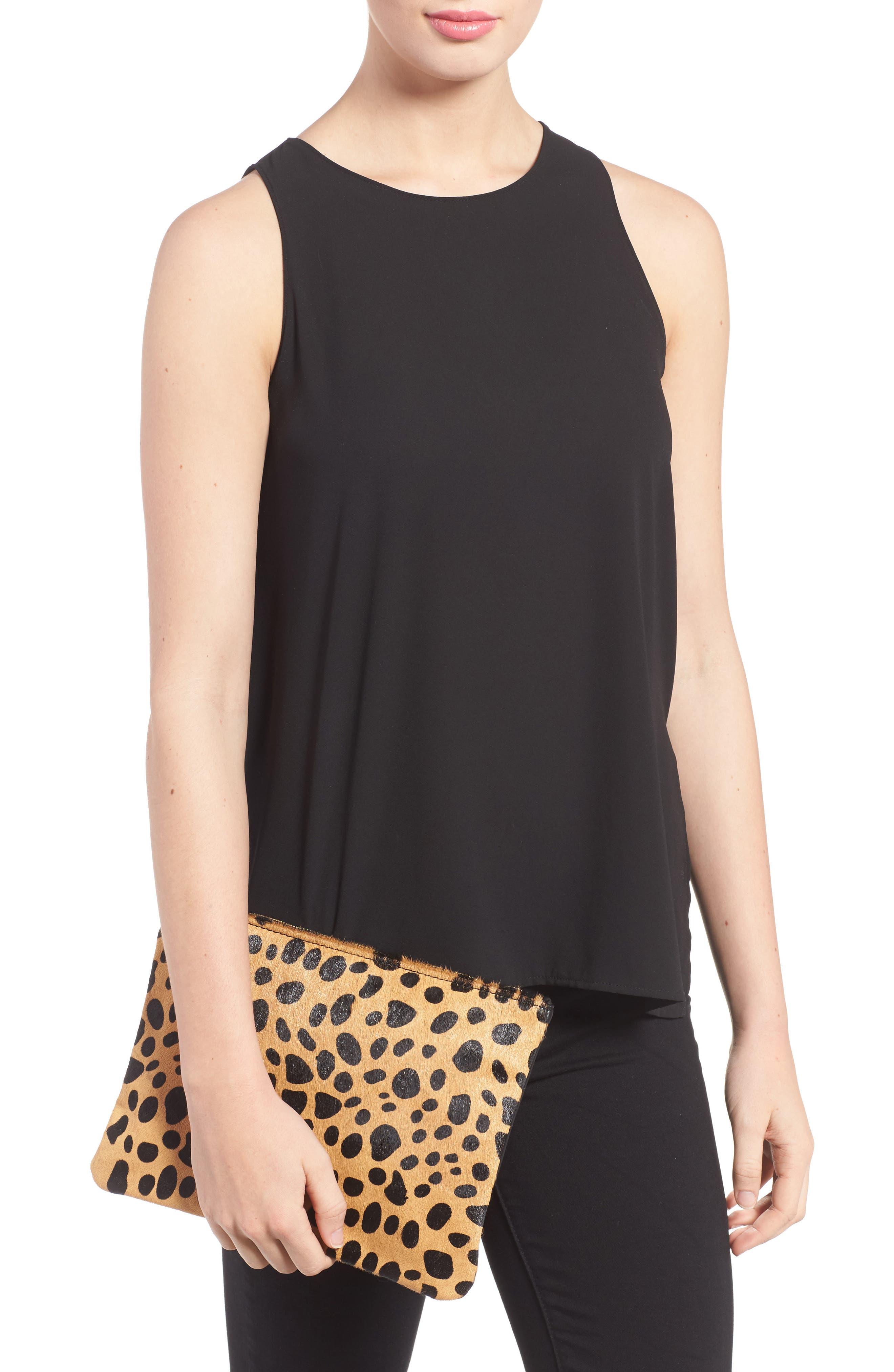 Alternate Image 2  - BP. Leopard Print Genuine Calf Hair Pouch