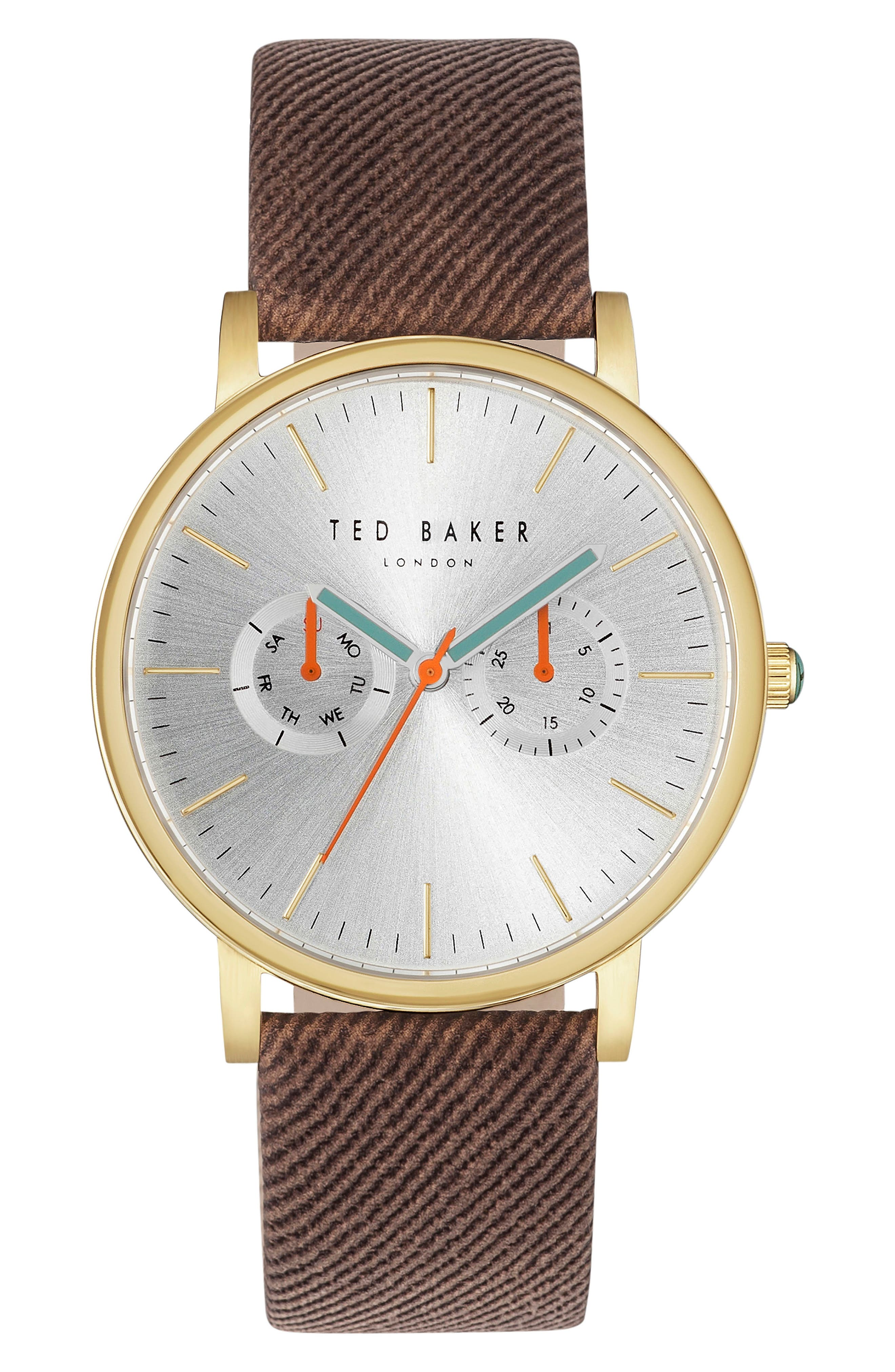 Ted Baker London Multifunction Textured Canvas Strap Watch, 42mm