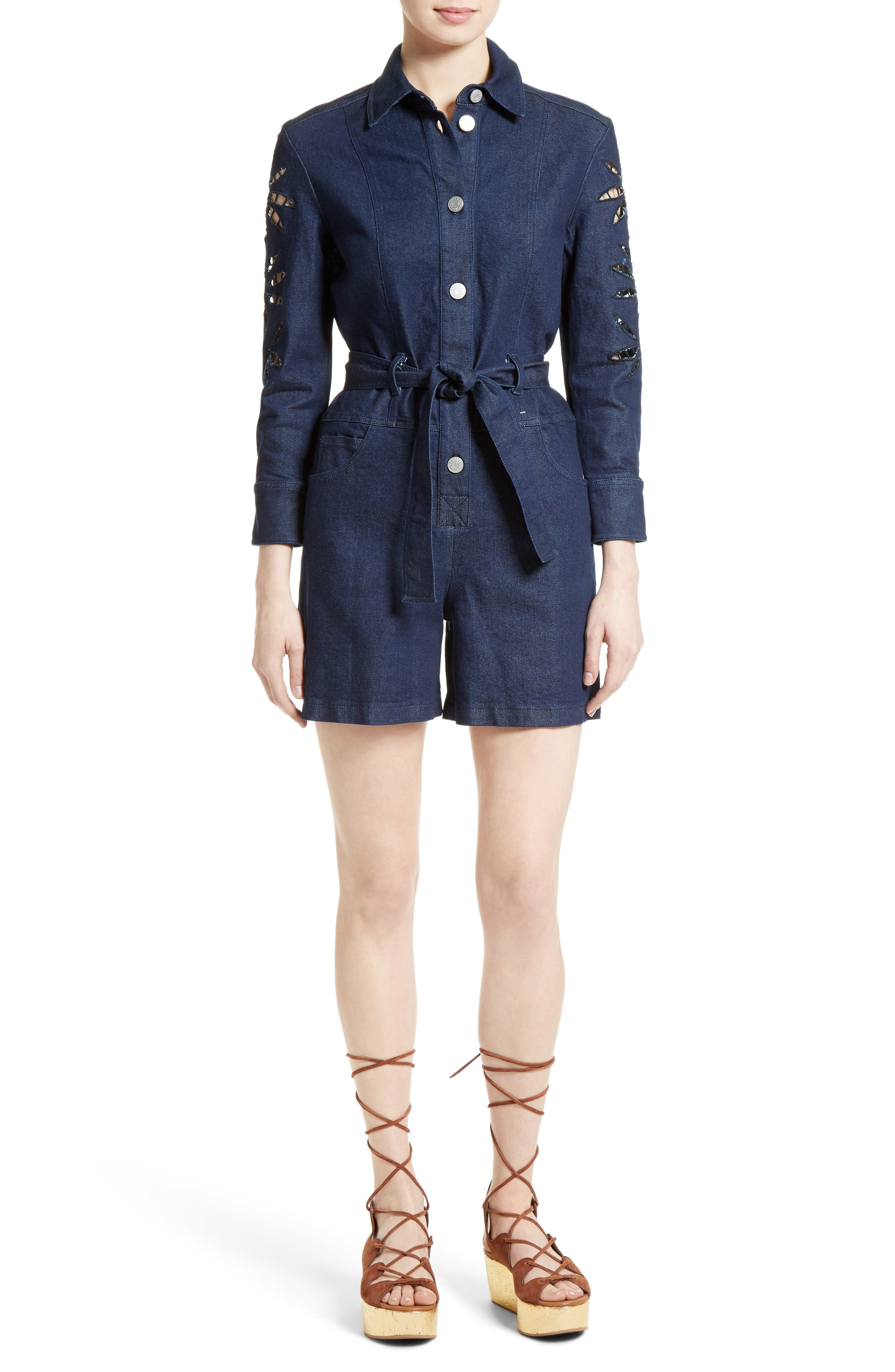 Main Image - See by Chloé Embroidered Denim Romper (Nordstrom Exclusive)