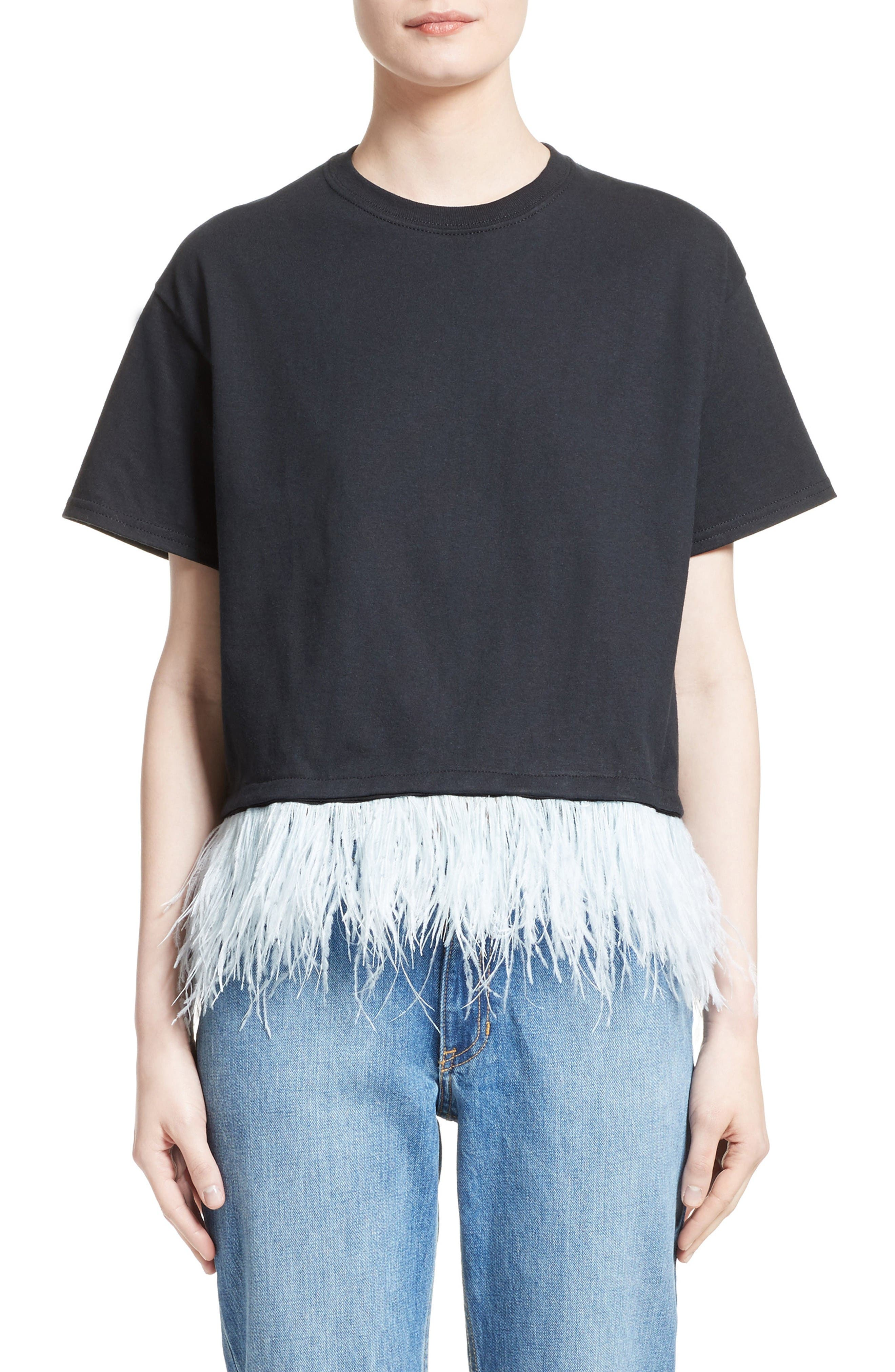 Opening Ceremony Feather Trim Crop Tee