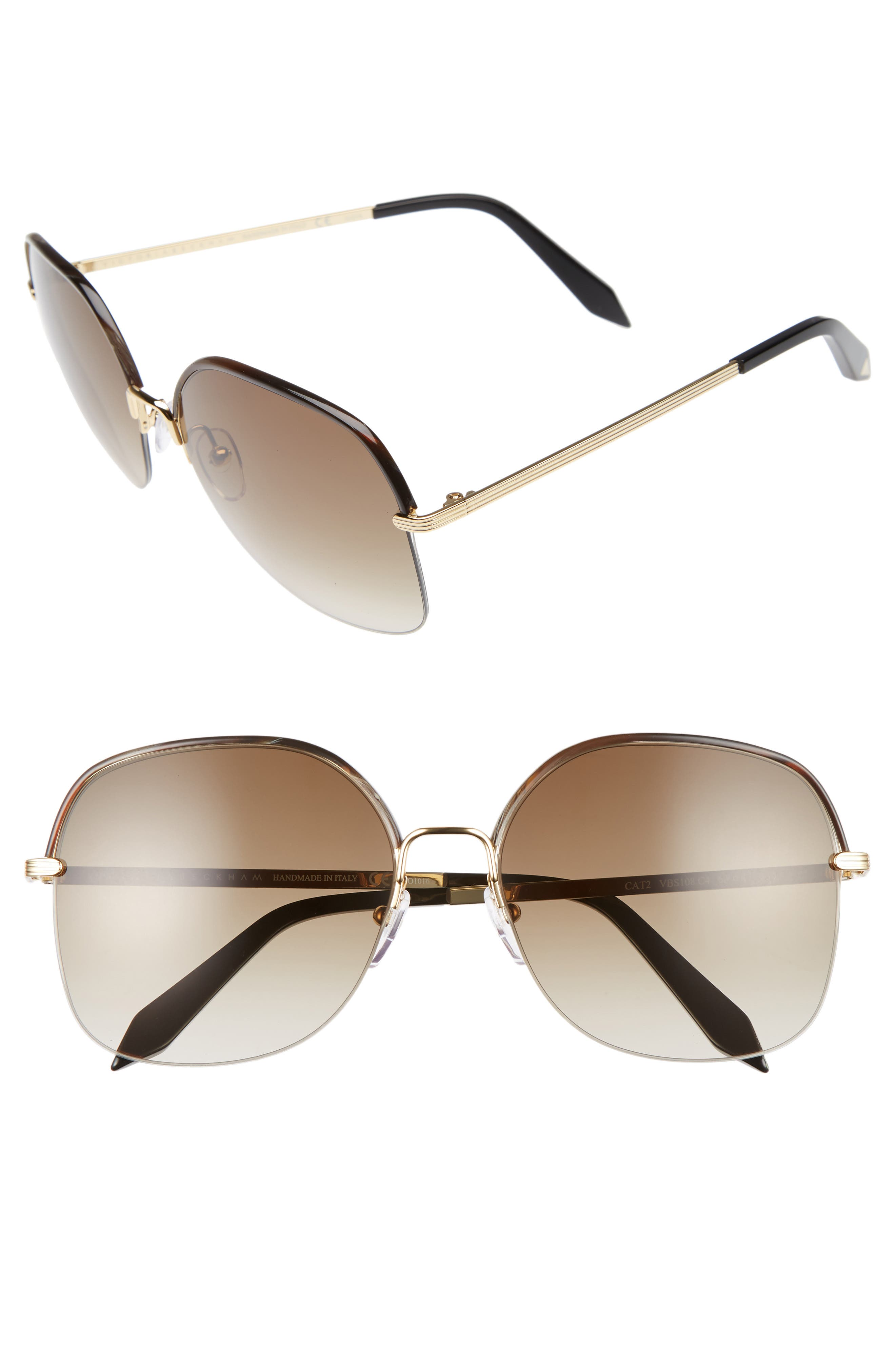 Victoria Beckham Windsor 60mm Gradient Lens Square Sunglasses