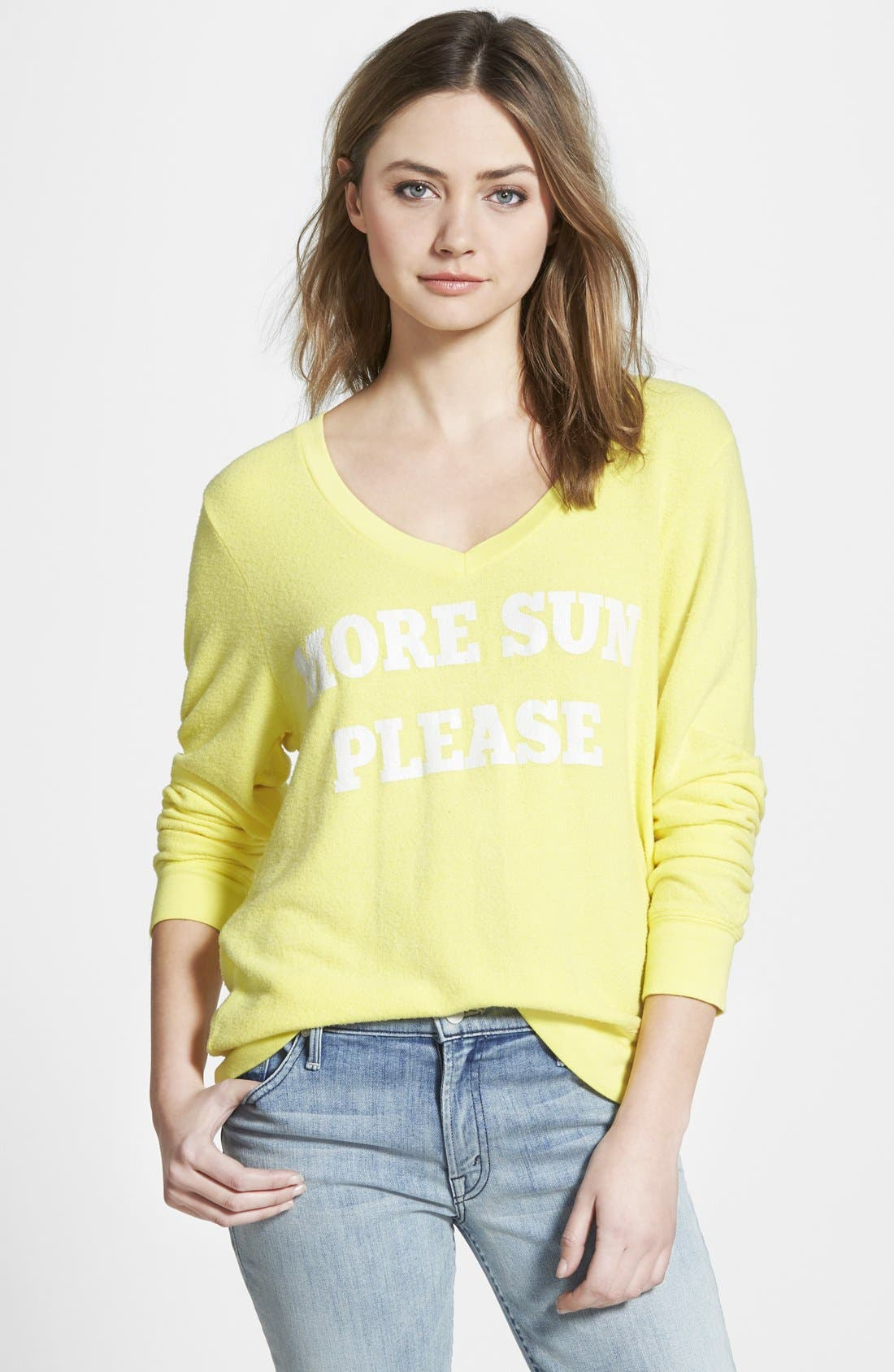Alternate Image 1 Selected - Wildfox 'More Sun' V-Neck Sweatshirt
