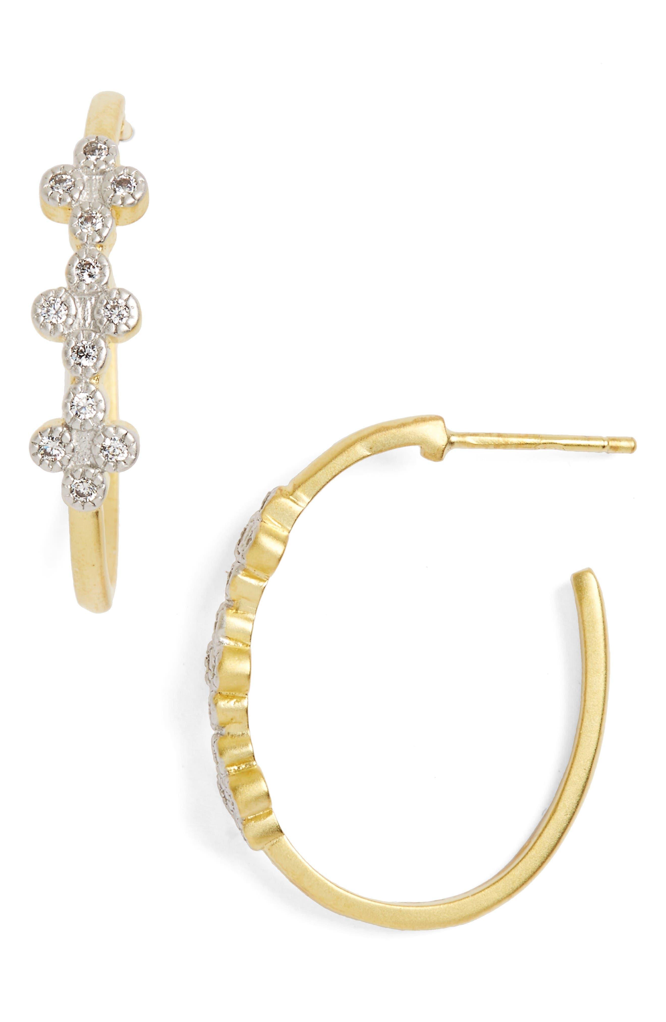 FREIDA ROTHMAN Visionary Fusion Pavé Clover Hoop Earrings