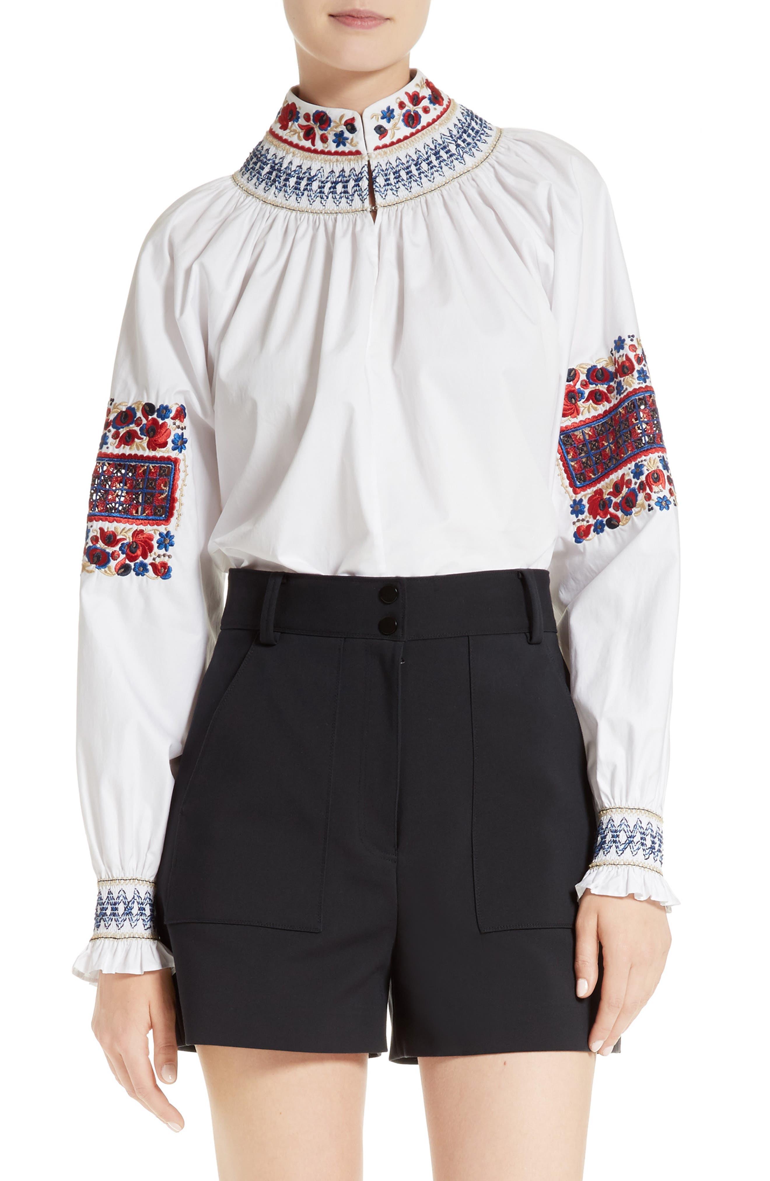 Tibi Cora Embroidered Top