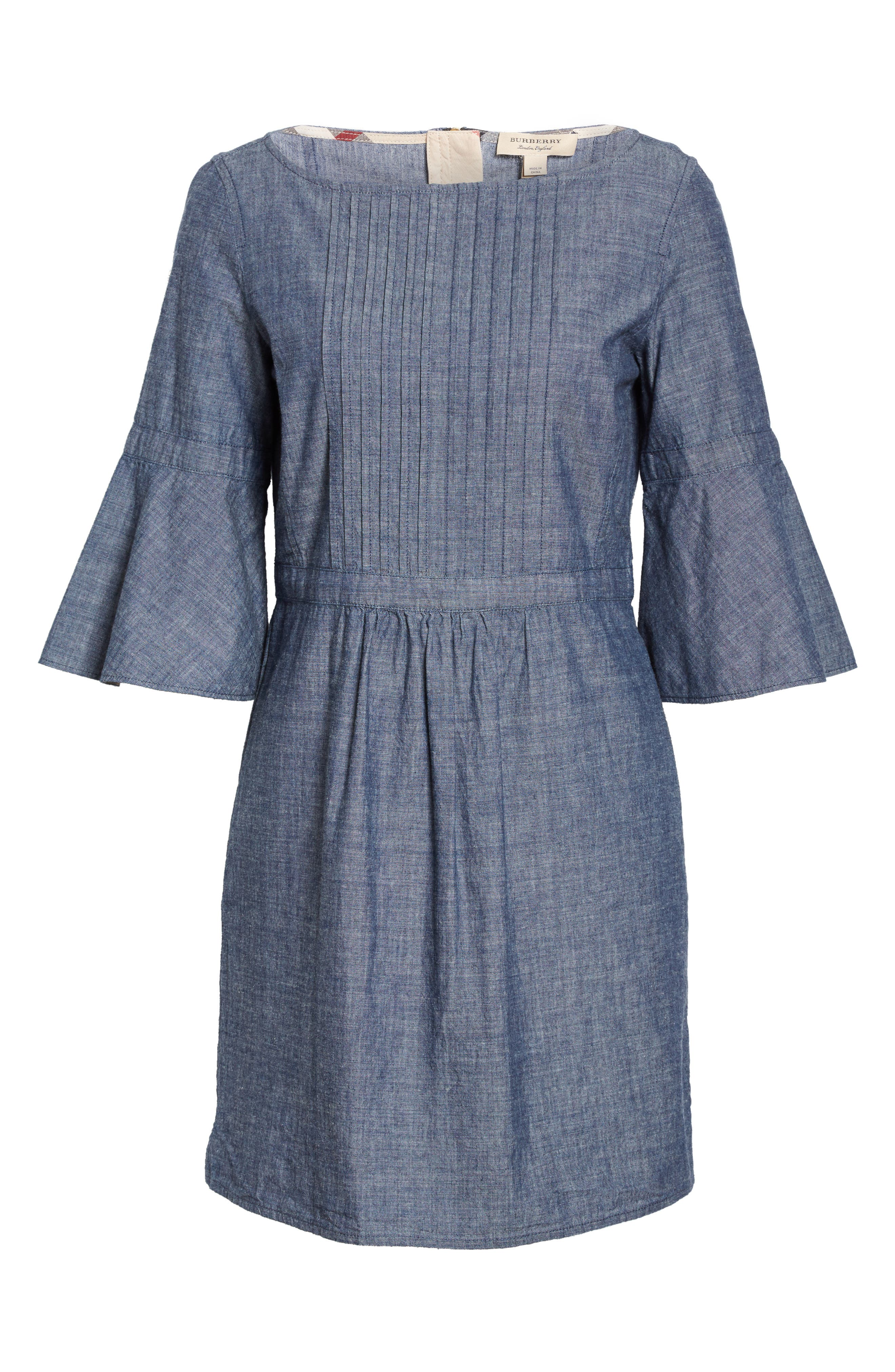 Alternate Image 4  - Burberry Michelle Bell Sleeve Chambray Dress