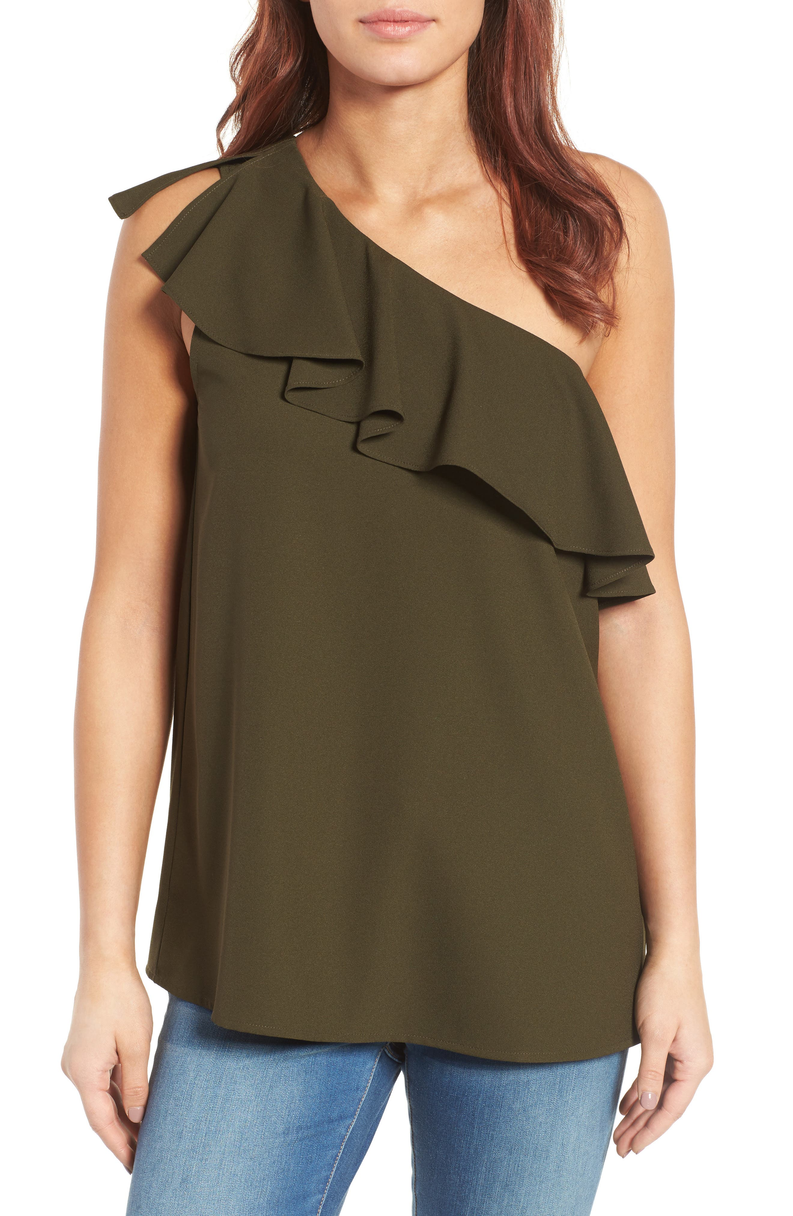 Alternate Image 1 Selected - Pleione Ruffled One Shoulder Top (Regular & Petite)