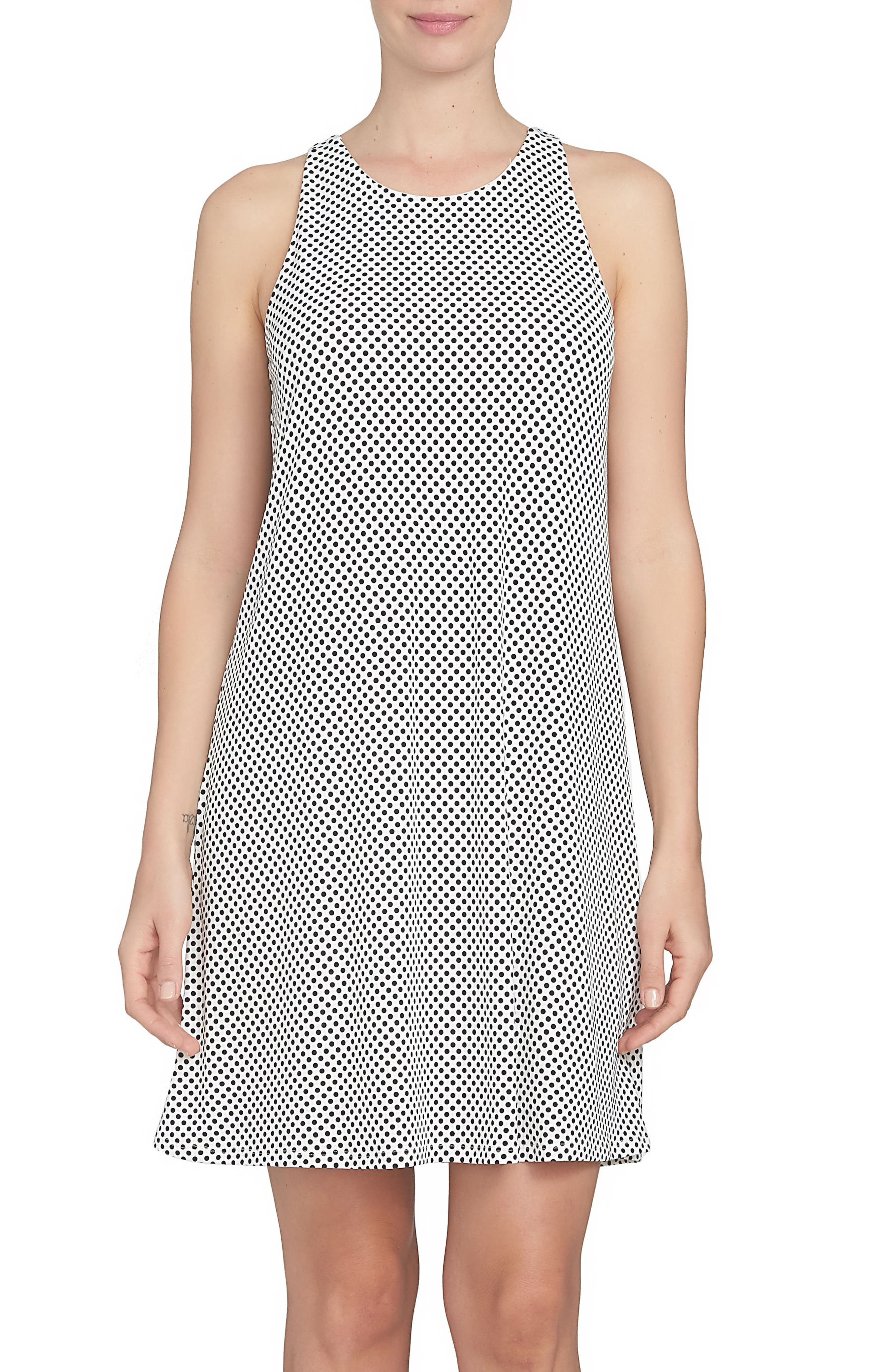 CeCe Polka Dot Twist Back Knit Shift Dress