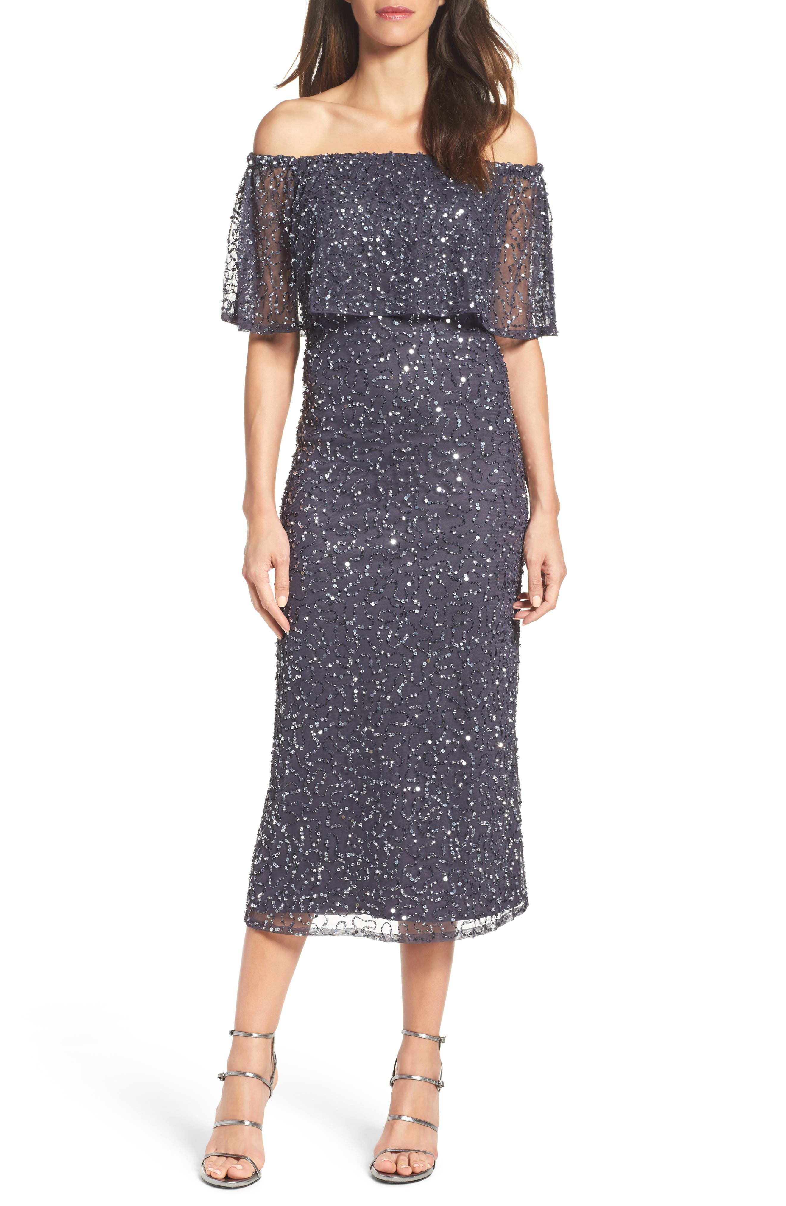 Pisarro Nights Beaded Off the Shoulder Midi Dress