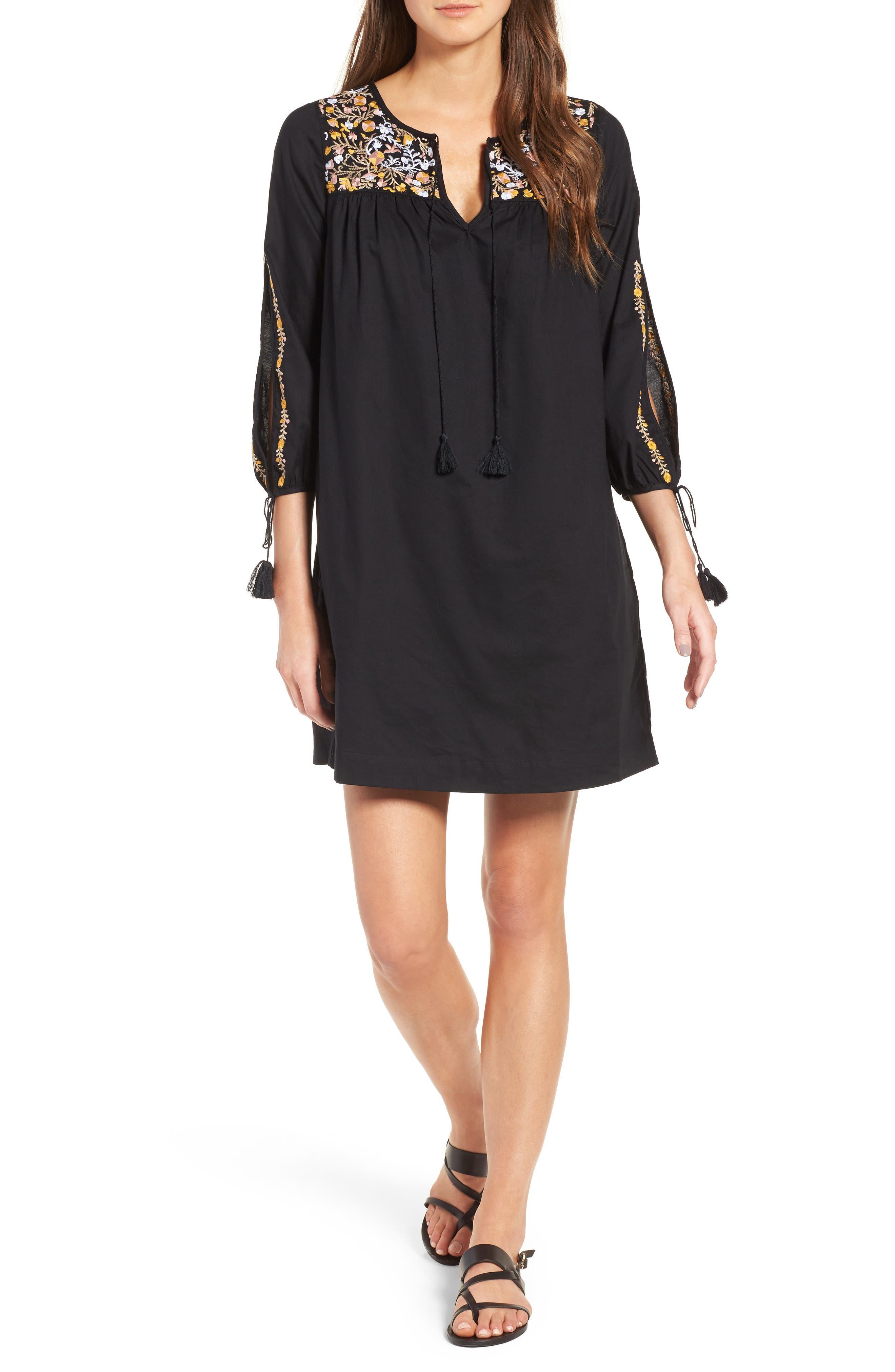 Main Image - Madewell Embroidered Slit Sleeve Dress