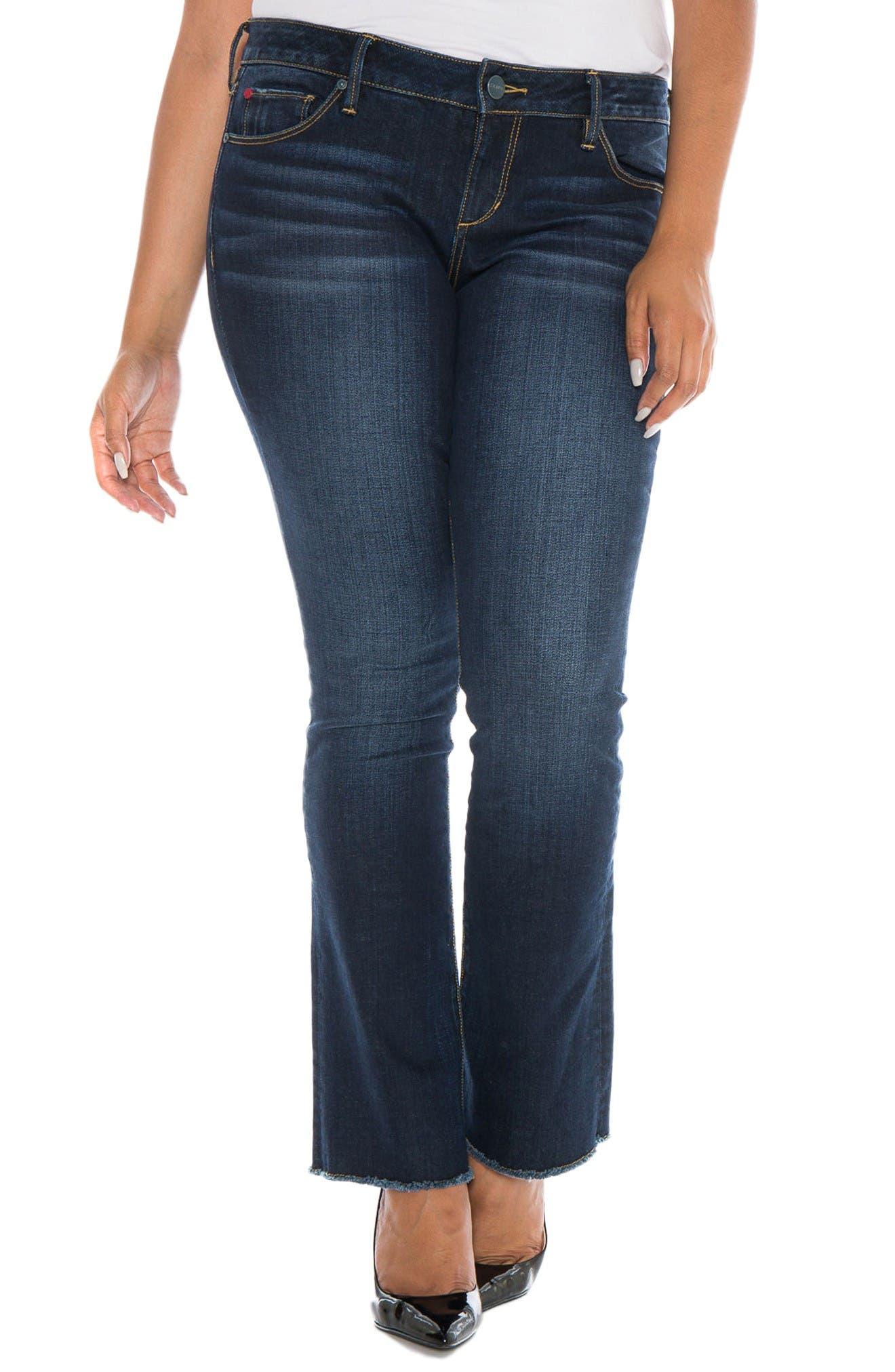 SLINK Jeans Fray Hem Bootcut Jeans (Katie) (Plus Size)