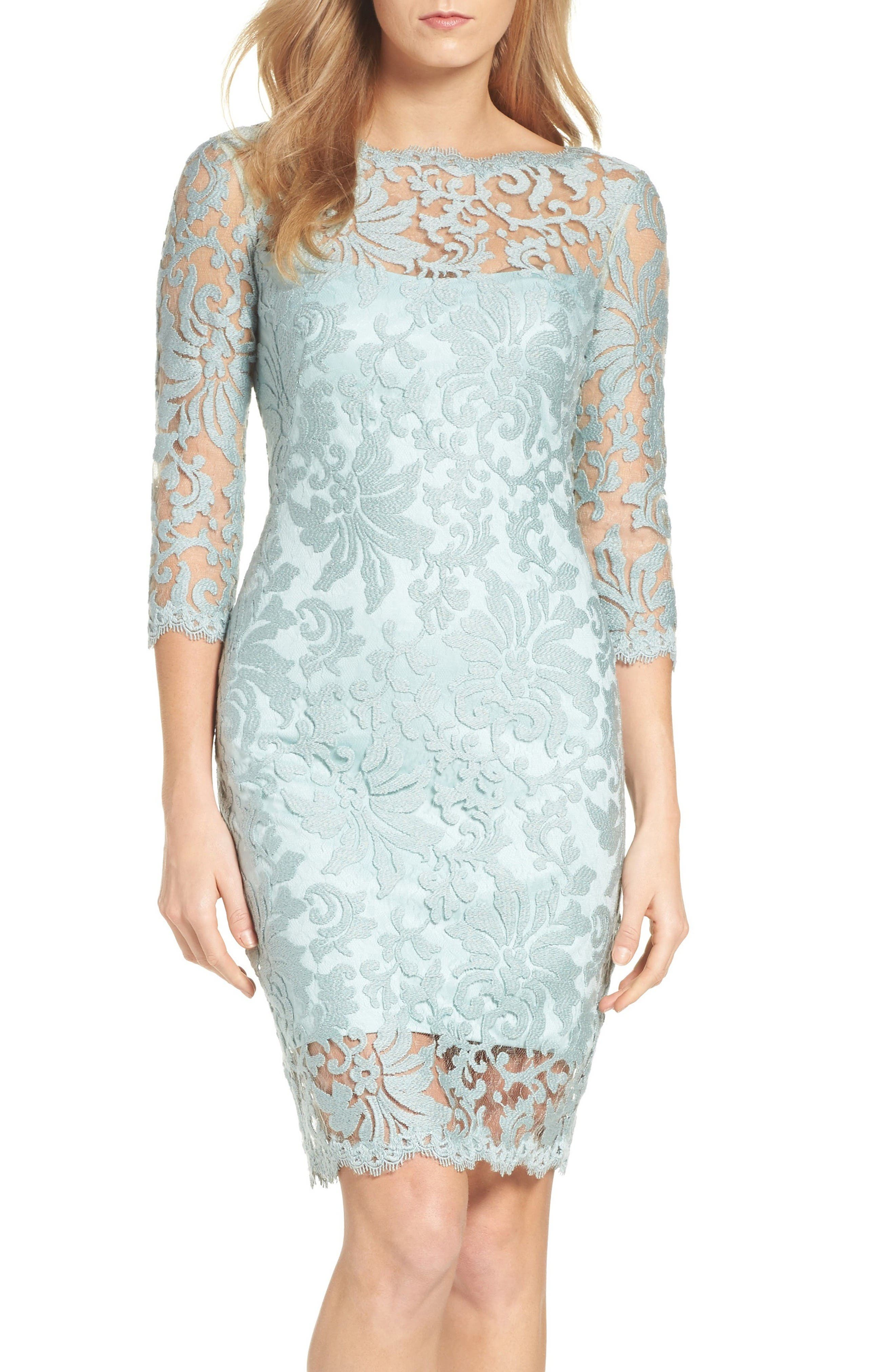 Alternate Image 1 Selected - Tadashi Shoji Embroidered Lace Sheath Dress