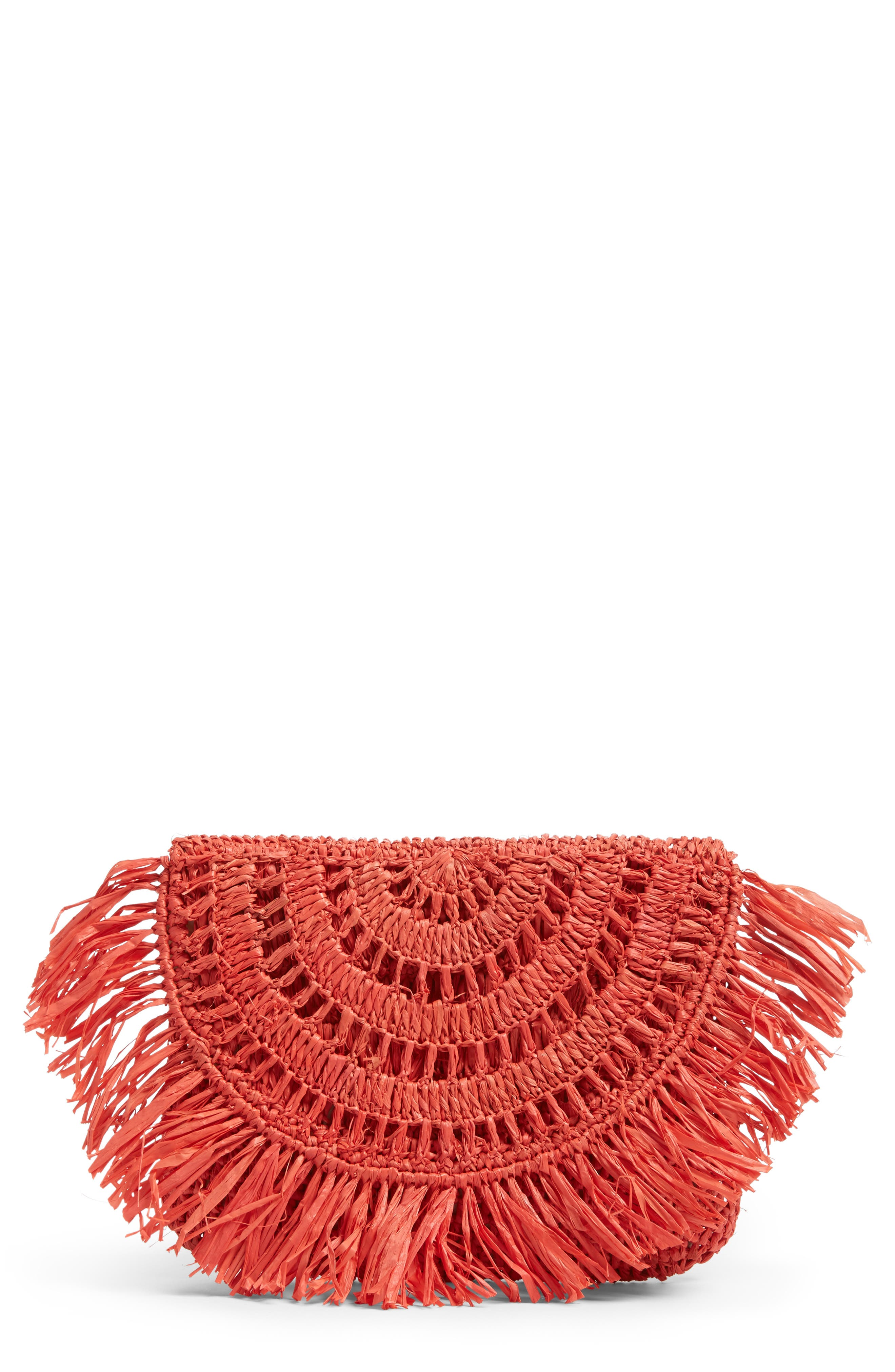 Alternate Image 1 Selected - Mar y Sol Mia Woven Raffia Clutch