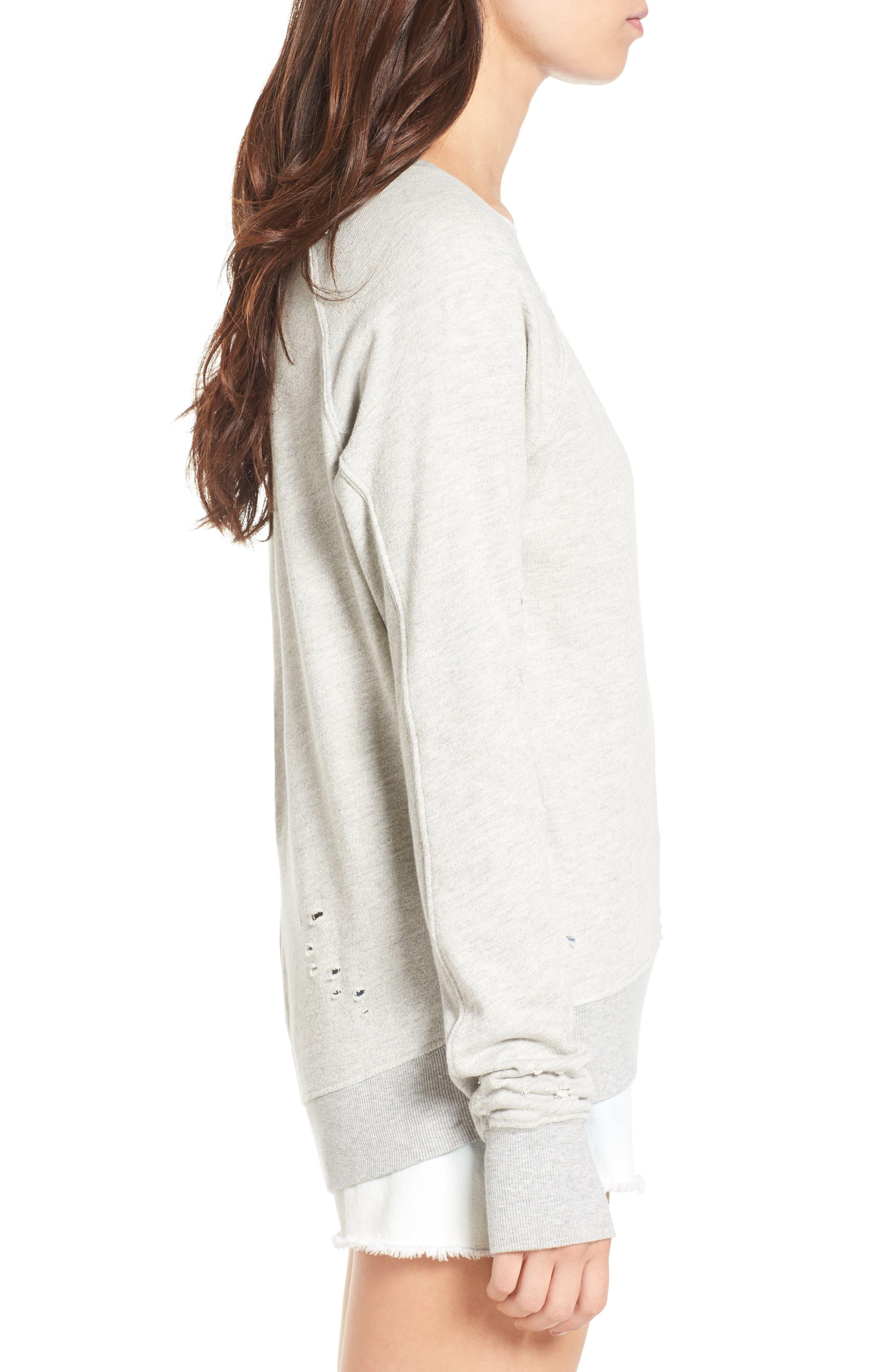 Alternate Image 3  - Pam & Gela 'Annie' Destroyed High/Low Sweatshirt