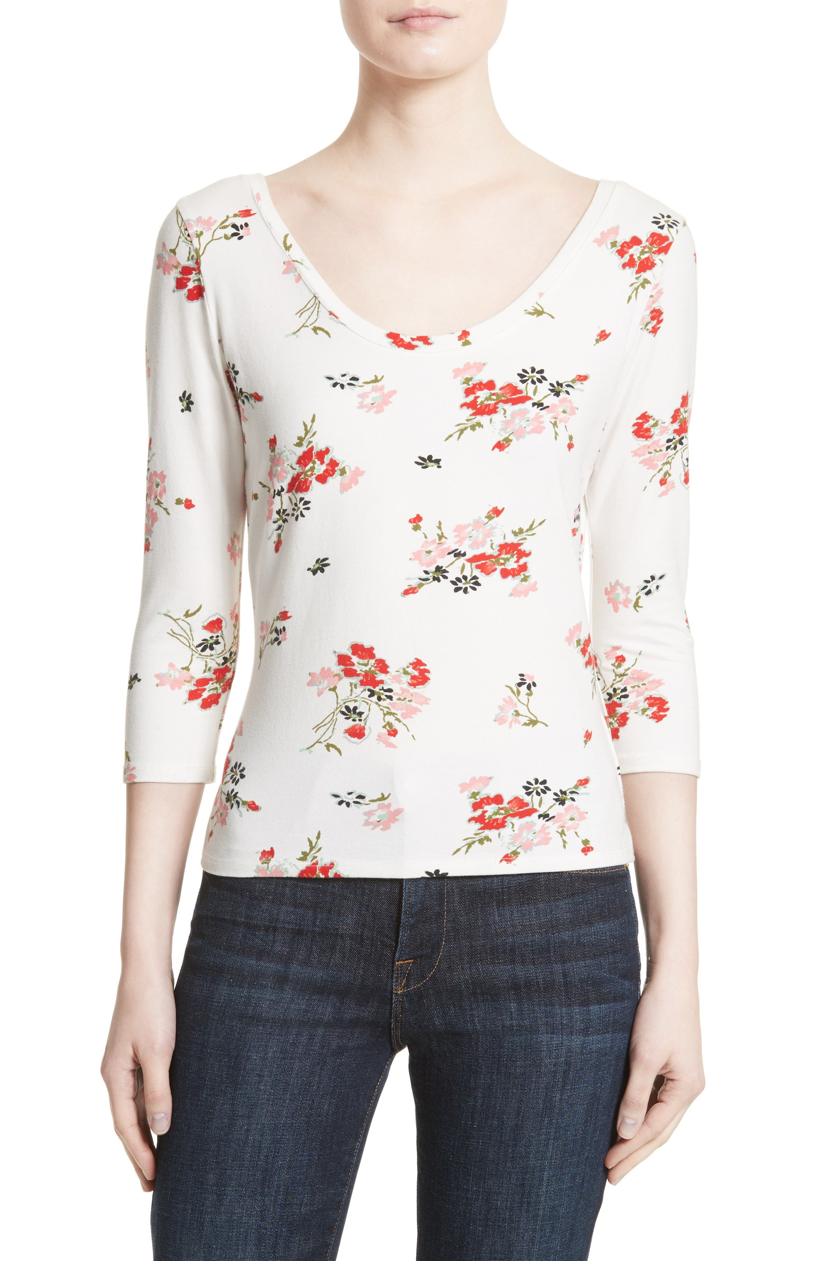 Rebecca Taylor Marguerite Floral Jersey Tee