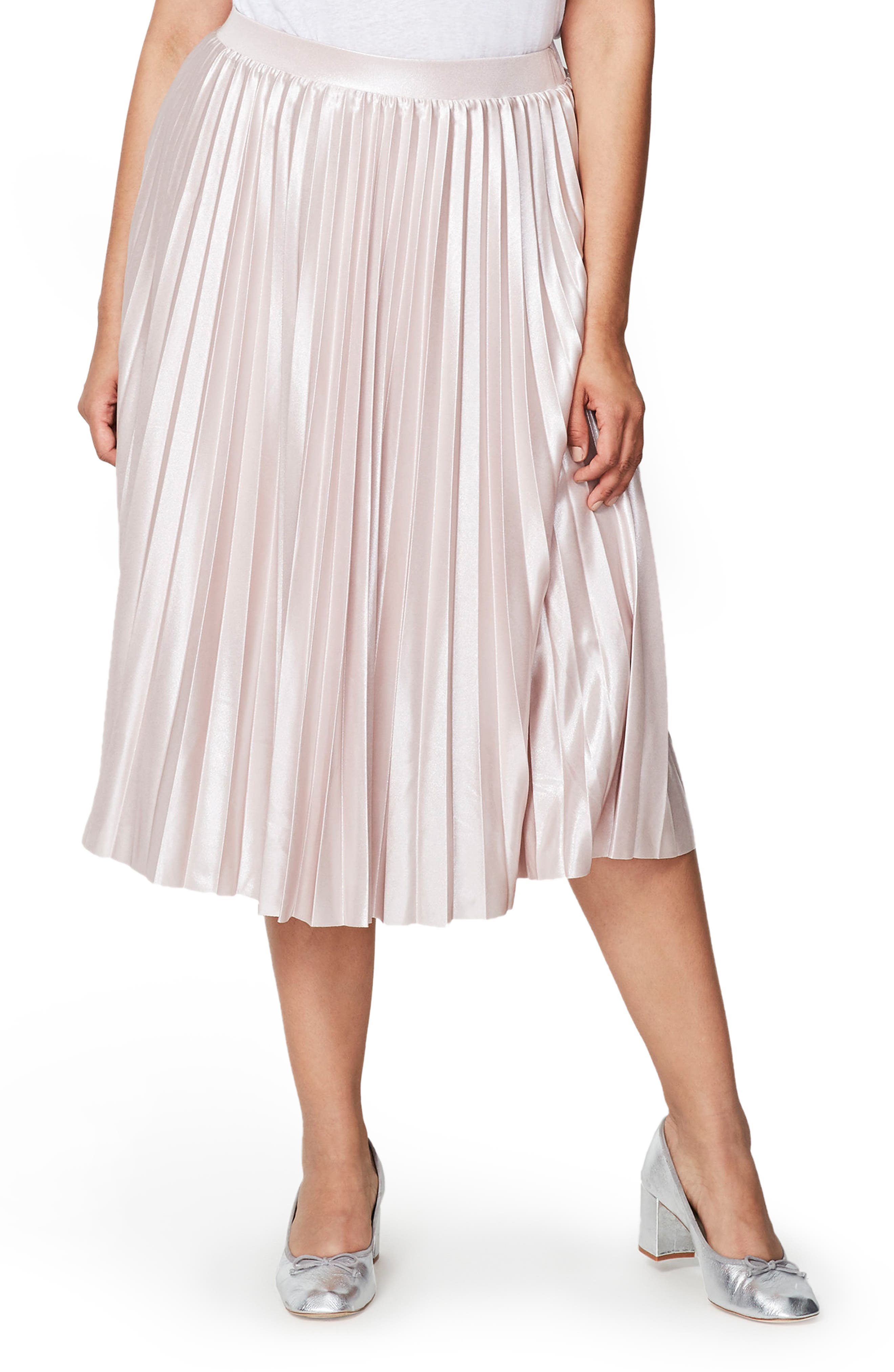 RACHEL Rachel Roy Pleat Lamé Skirt (Plus Size)