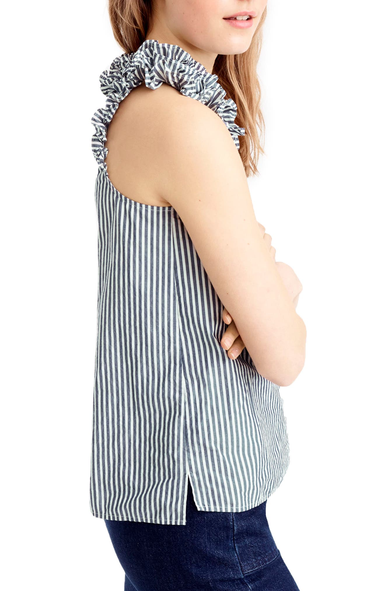Alternate Image 3  - J.Crew Ruffle Stripe Cotton Poplin Top