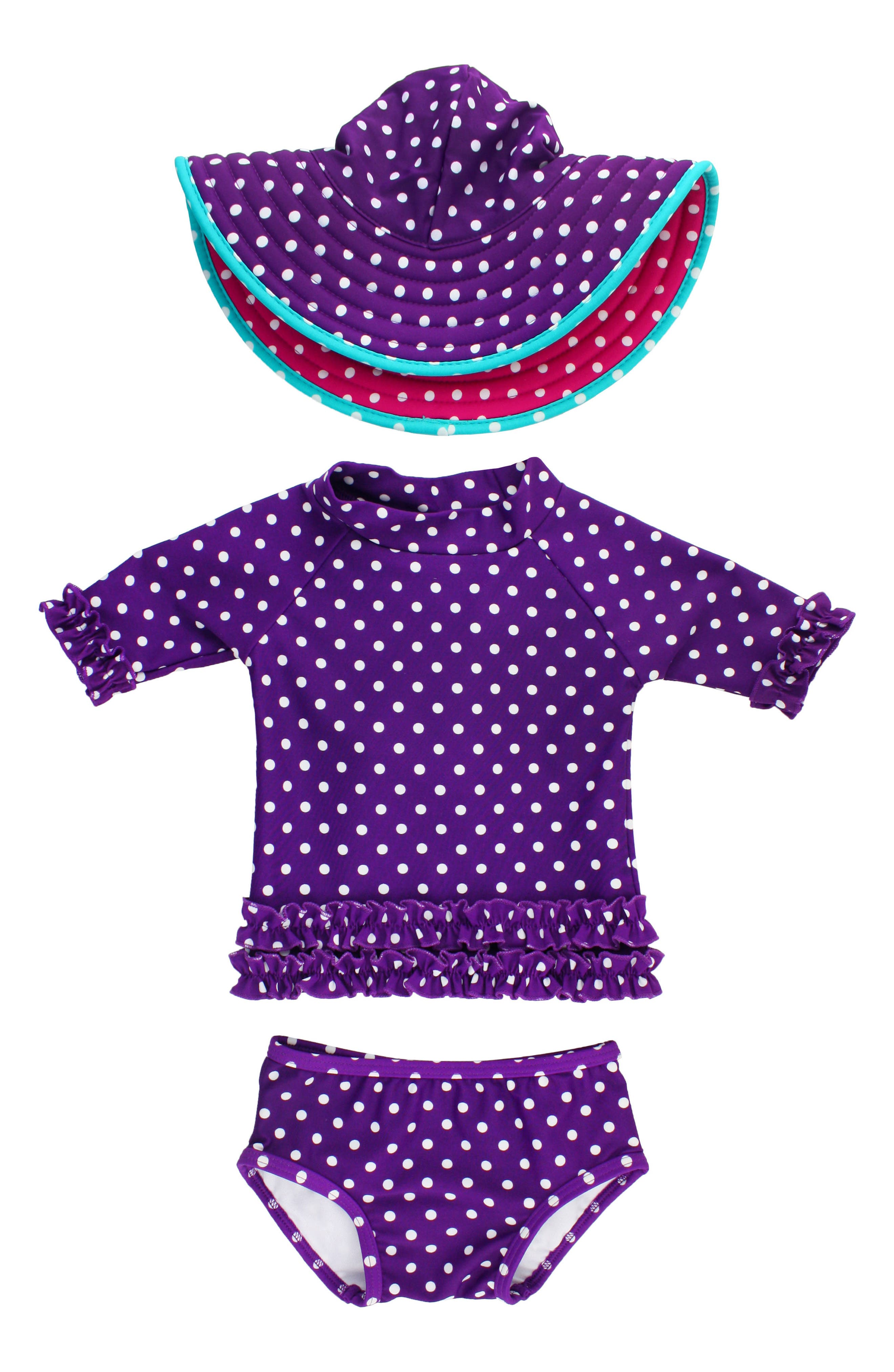 RuffleButts Two-Piece Rashguard Swimsuit & Hat Set (Toddler Girls)