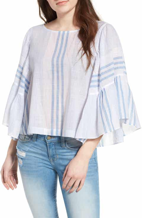 BP. Stripe Ruffle Swing Top