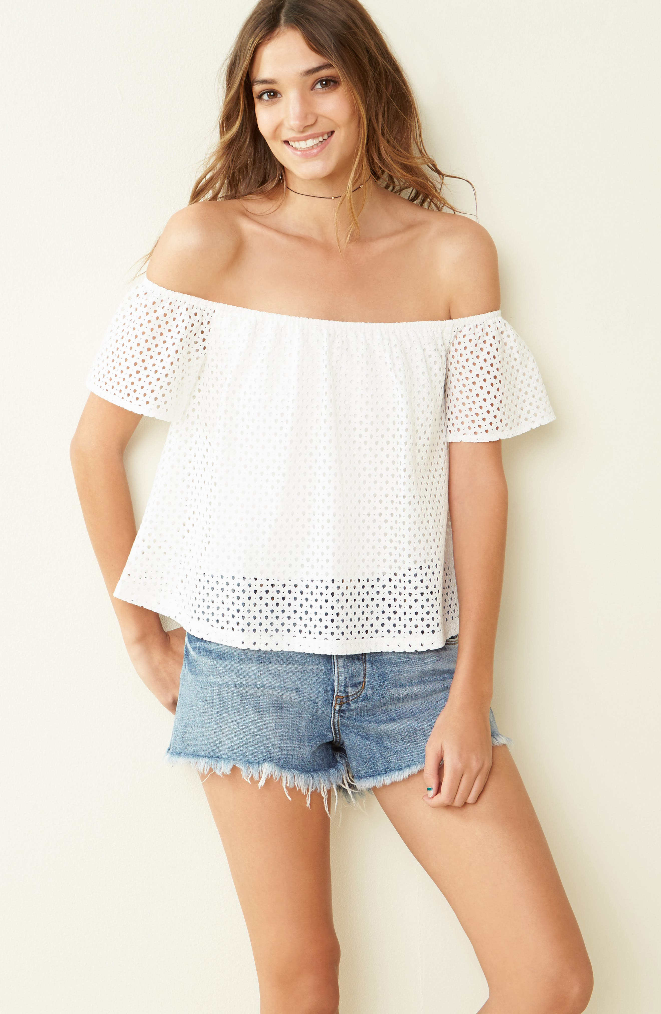 Alternate Image 2  - BP. Eyelet Off the Shoulder Top
