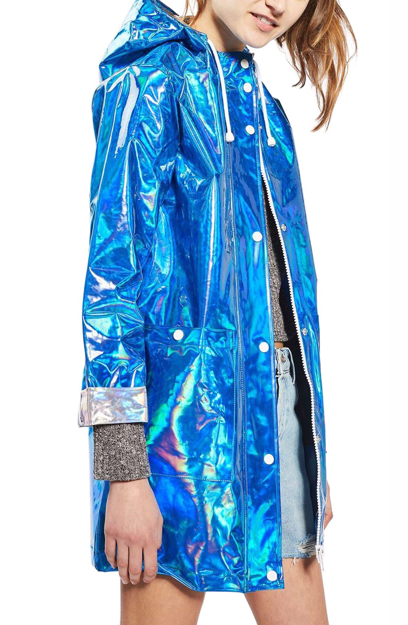 Alternate Image 1 Selected - Topshop Iridescent Rain Jacket