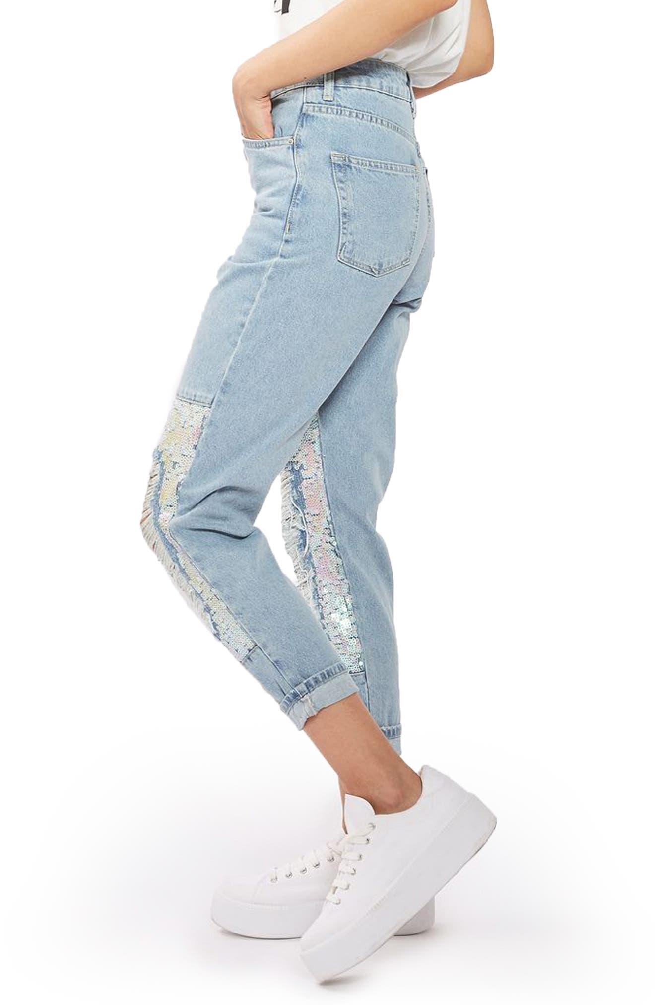 Alternate Image 3  - Topshop Ripped Sequin Knee Mom Jeans (Regular & Petite)