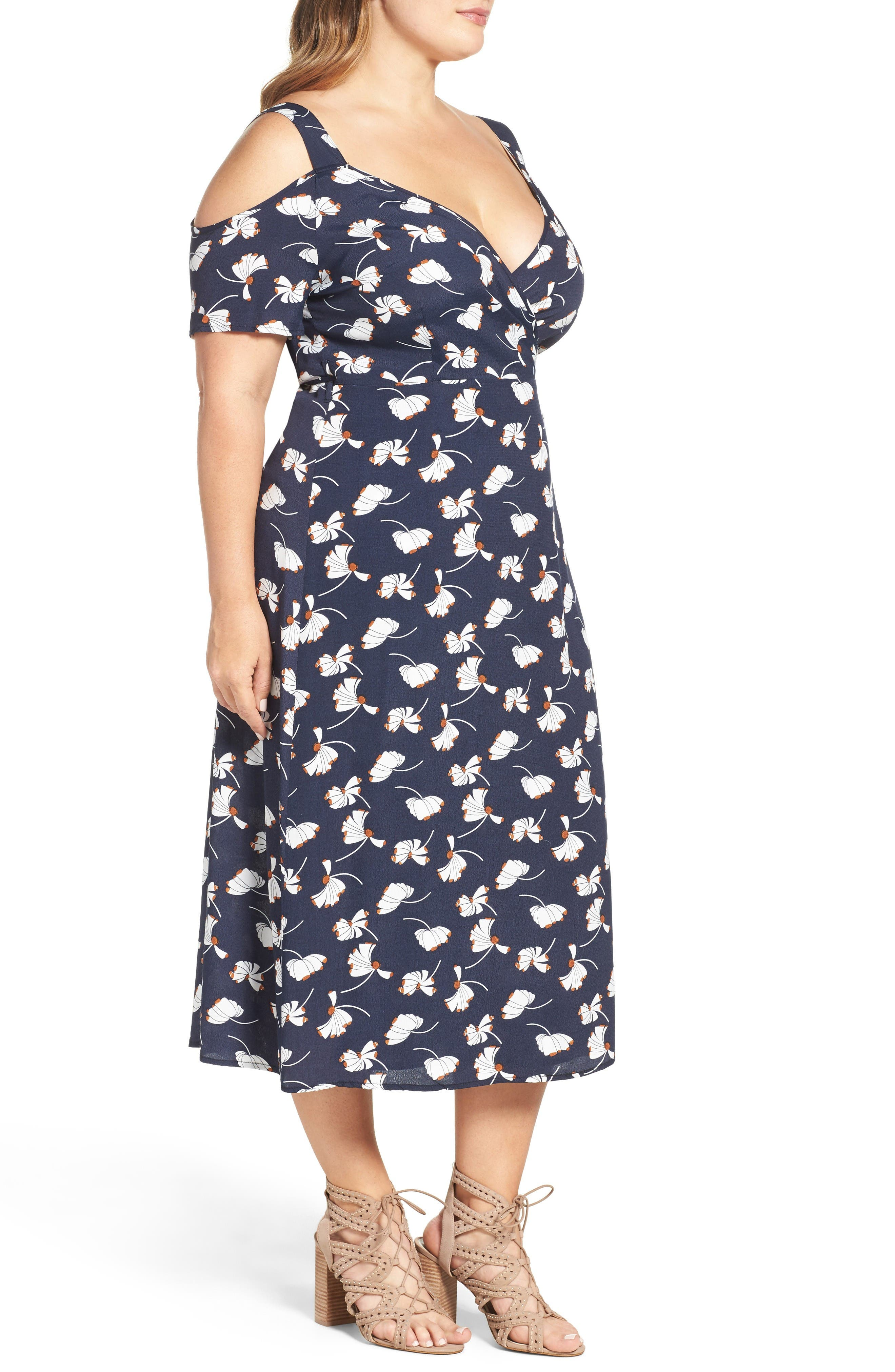 Alternate Image 3  - Glamorous Cold Shoulder Wrap Dress (Plus Size)