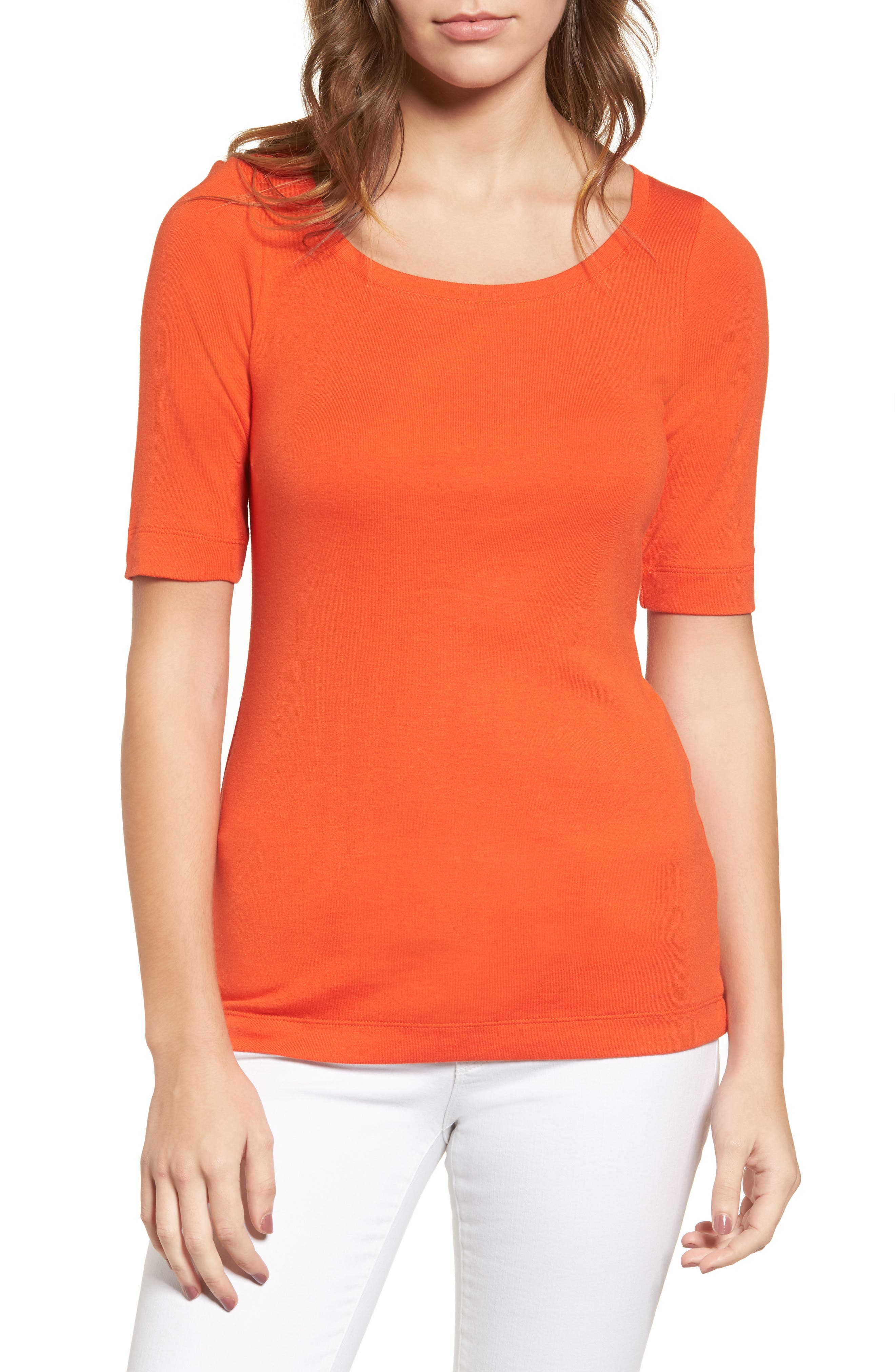 Caslon® Ballet Neck Cotton & Modal Knit Elbow Sleeve Tee (Regular & Petite)