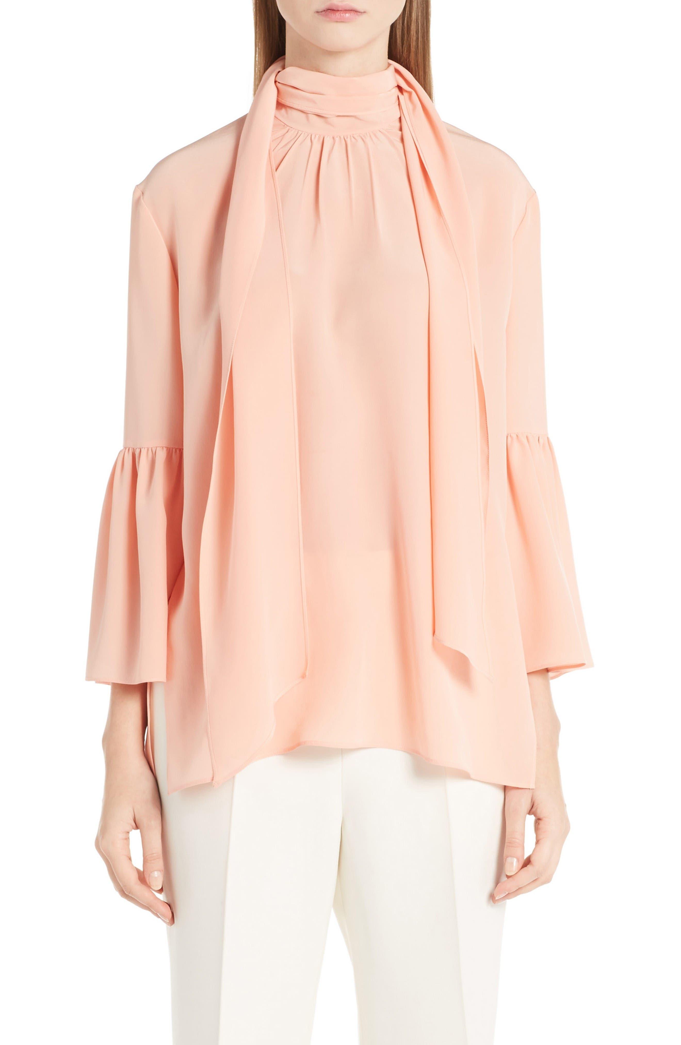 Alternate Image 1 Selected - Fendi Silk Bell Sleeve Tie Neck Blouse
