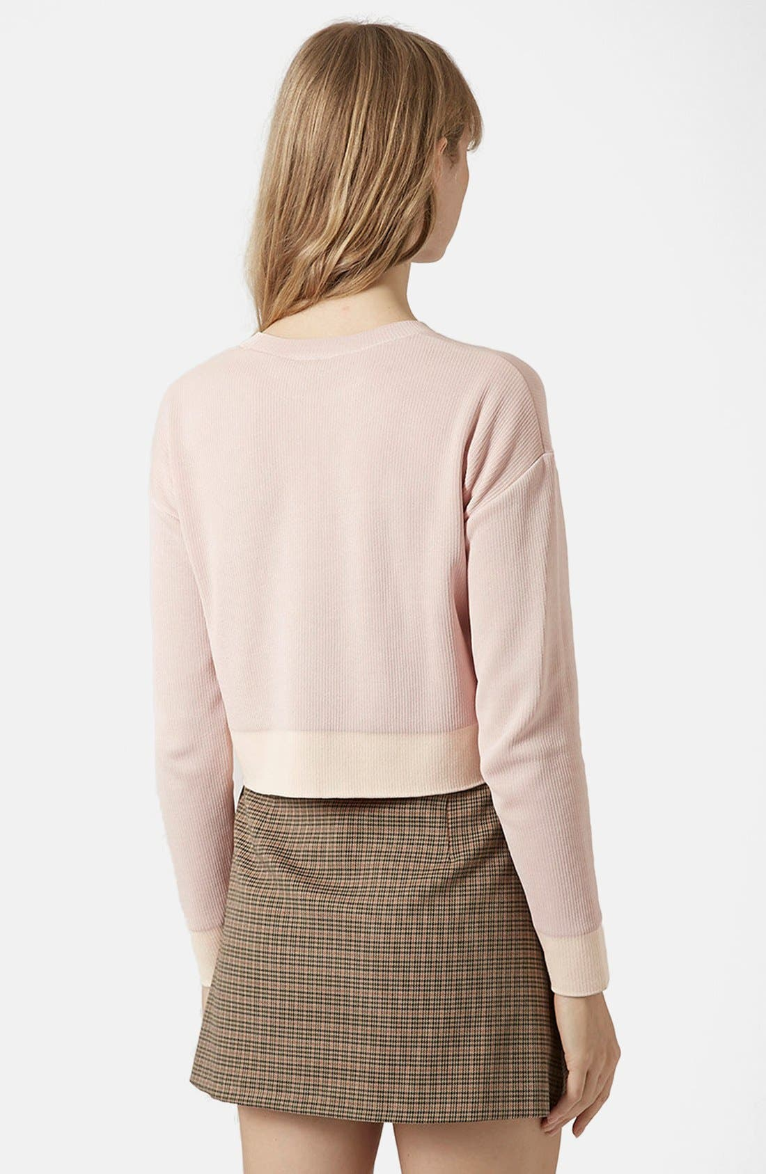 Alternate Image 2  - Topshop Ribbed Crop Sweater