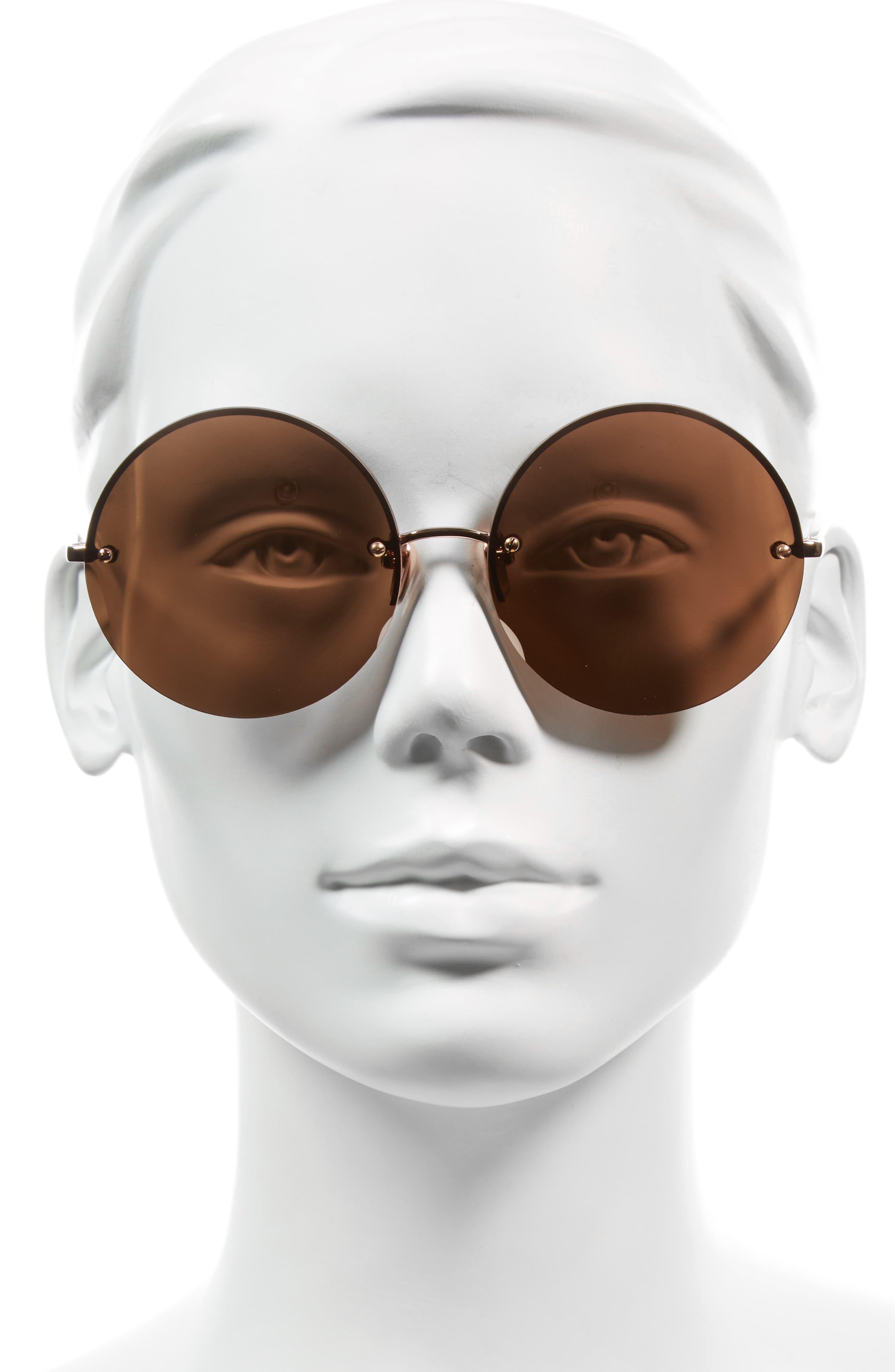 Alternate Image 2  - Linda Farrow 58mm 22 Karat Gold Trim Rimless Round Sunglasses