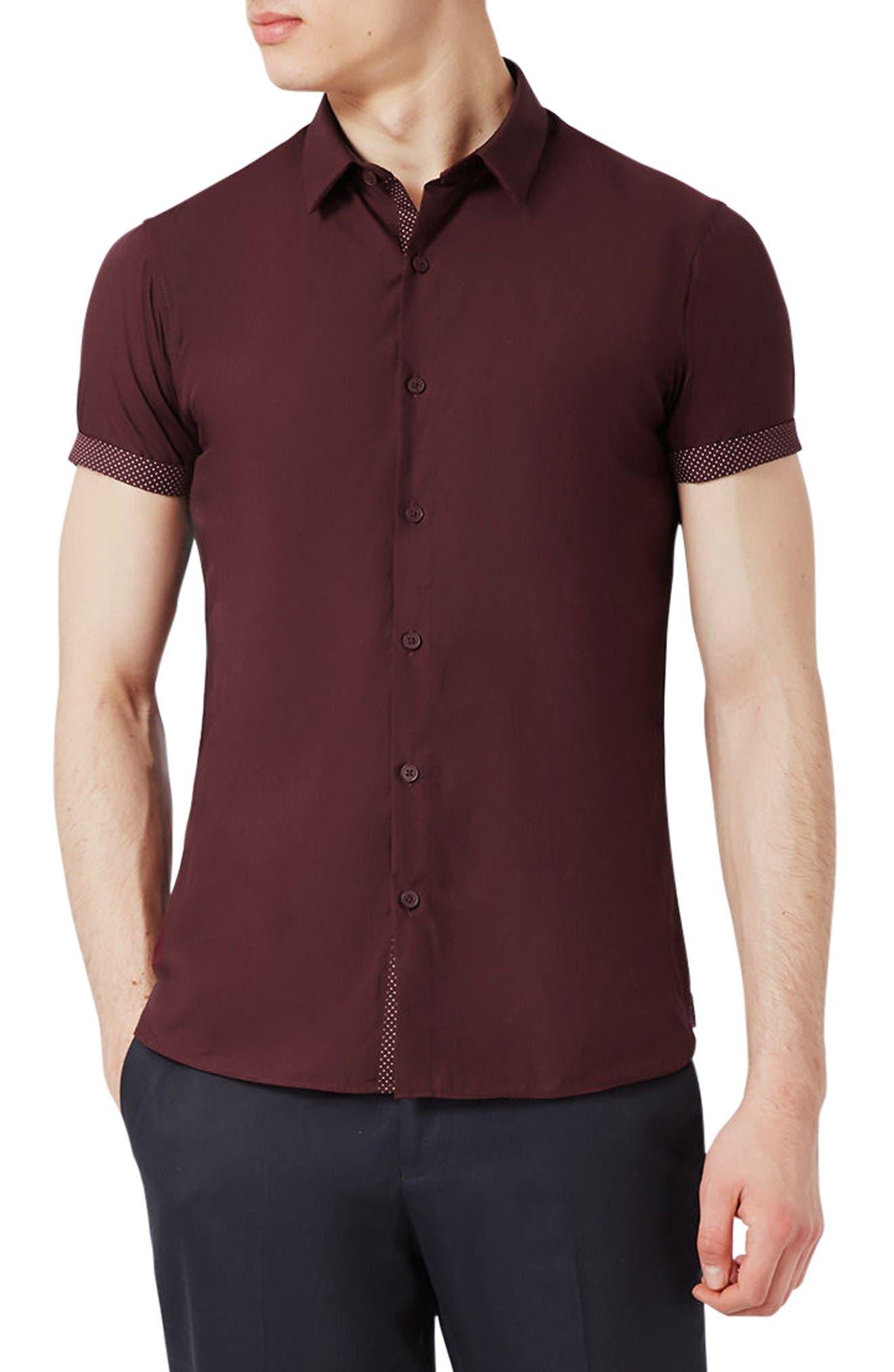 Topman Dot Slim Shirt