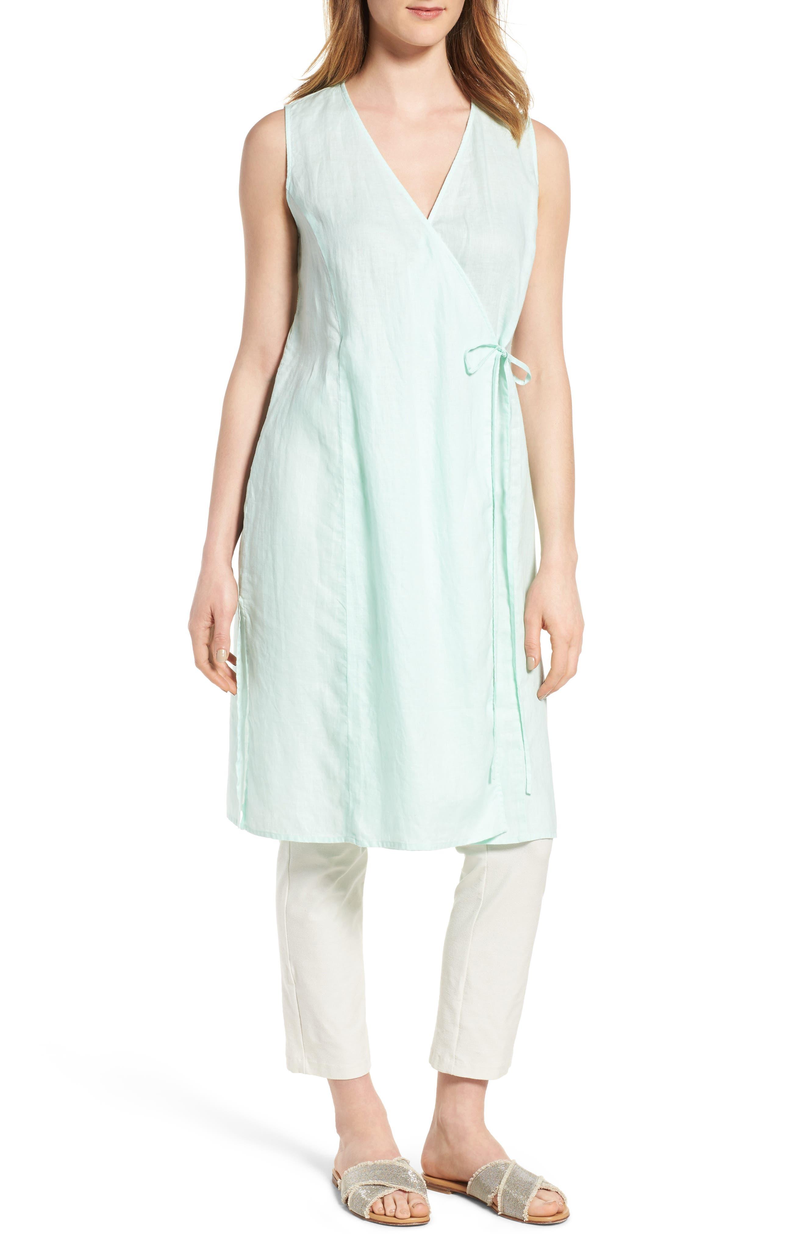 Eileen Fisher Long Wrap Front Vest (Regular & Petite)