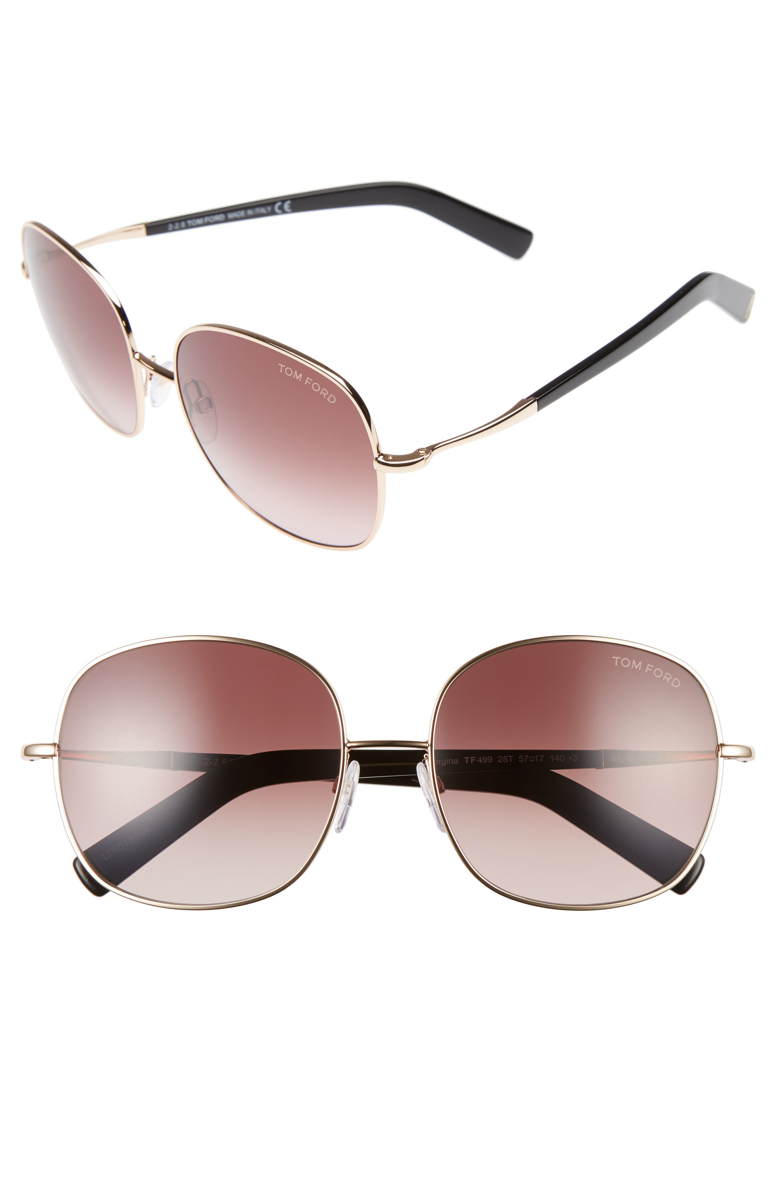 Tom Ford Georgina 57mm Gradient Lens Square Sunglasses