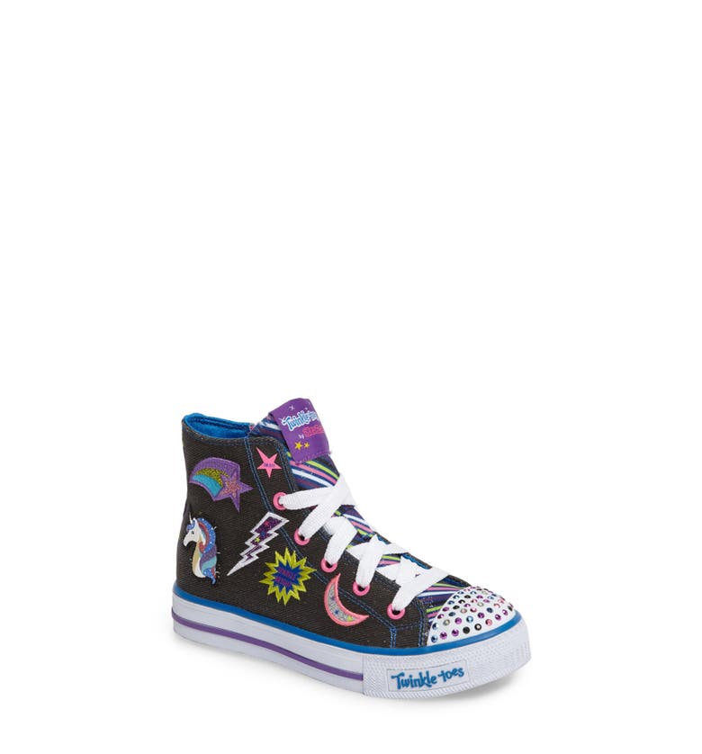 Main Image - SKECHERS Twinkle Toes Shuffles Light-Up High Top Sneaker (Walker, Toddler & Little Kid)